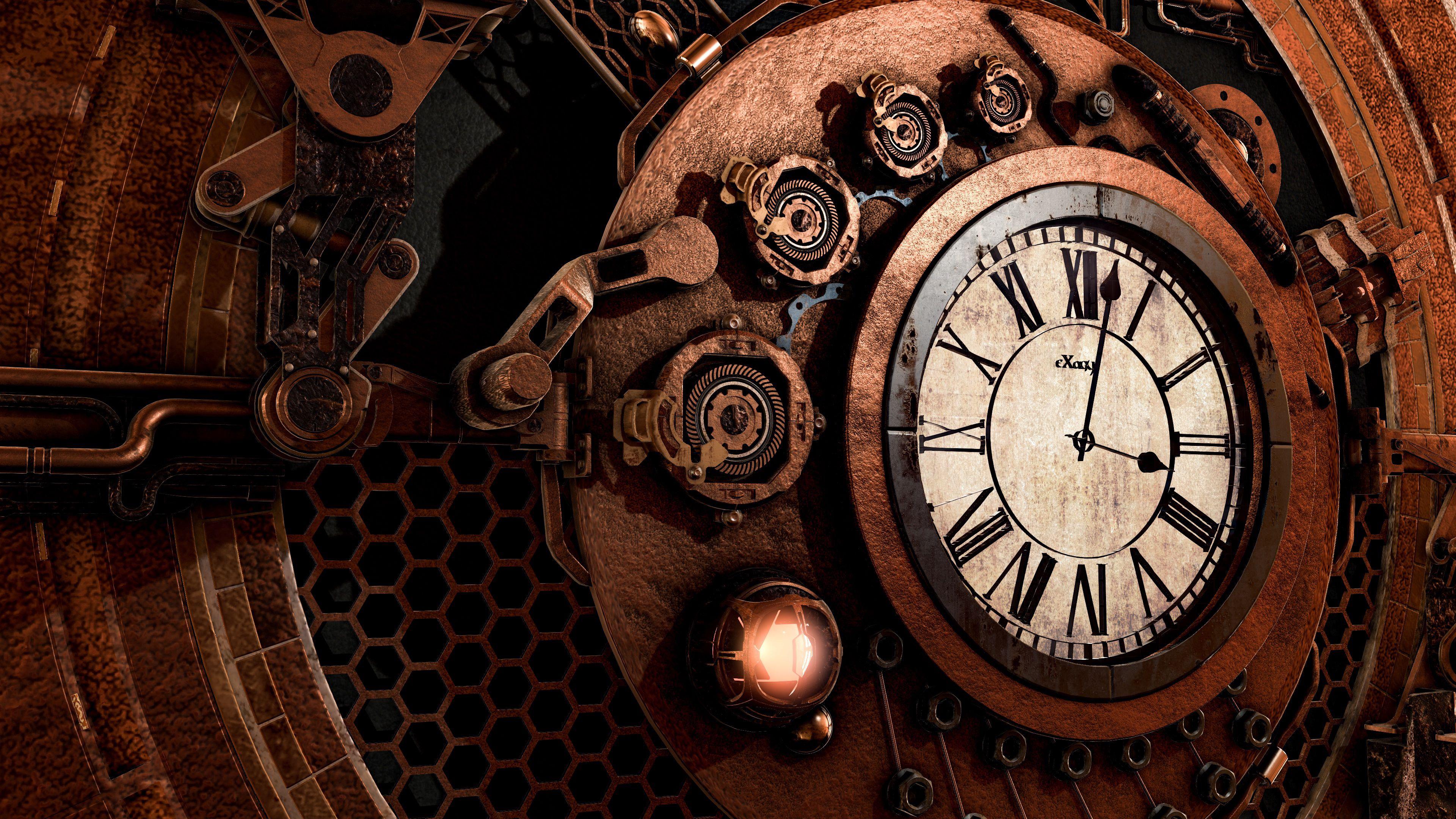 138098 télécharger le fond d'écran Divers, Mécanisme, Steampunk, Temps, C'est L'heure, Flèches, Cadran De L'horloge, Cadran, Horloge - économiseurs d'écran et images gratuitement