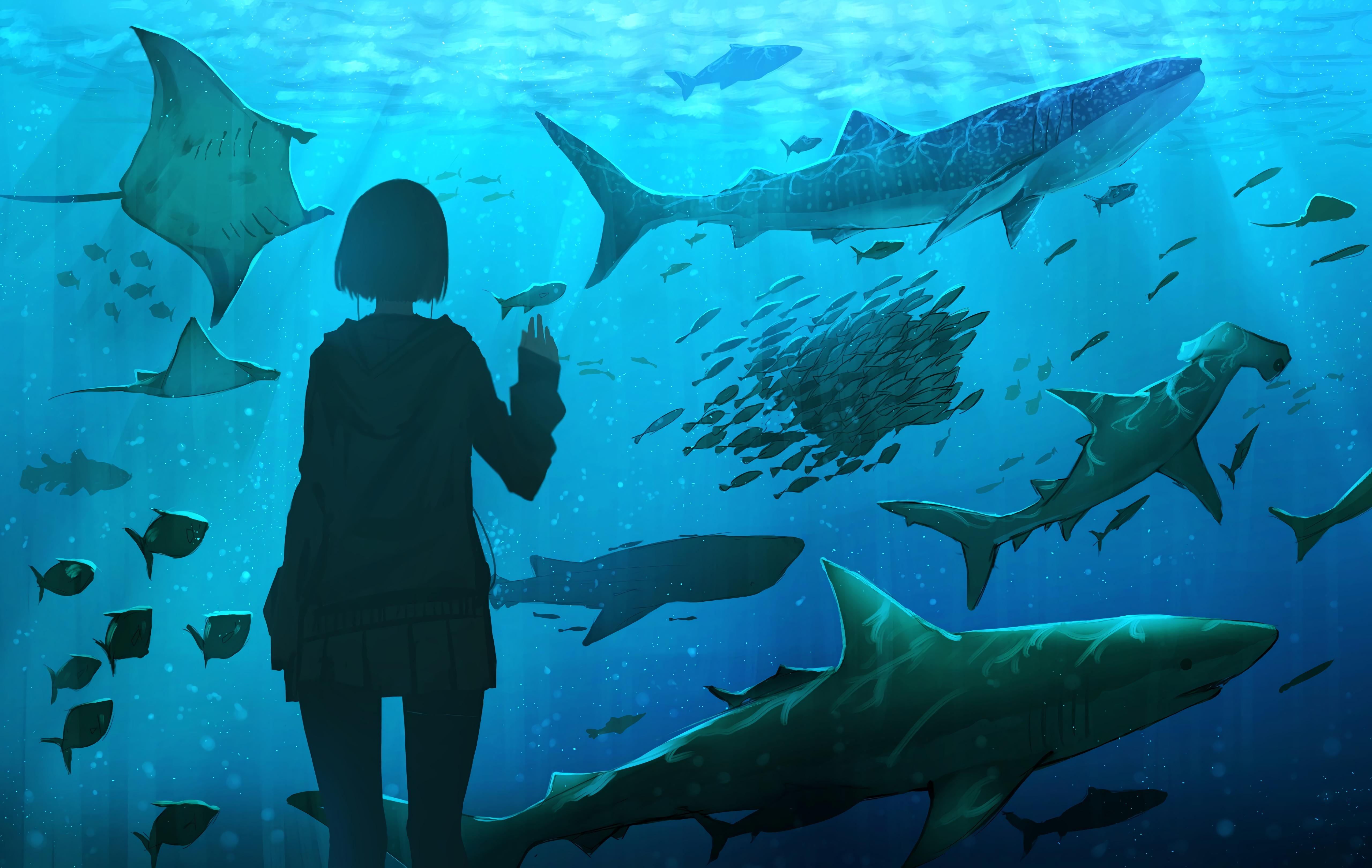 157088 Screensavers and Wallpapers Aquarium for phone. Download Art, Girl, Underwater World, Aquarium, Fish pictures for free
