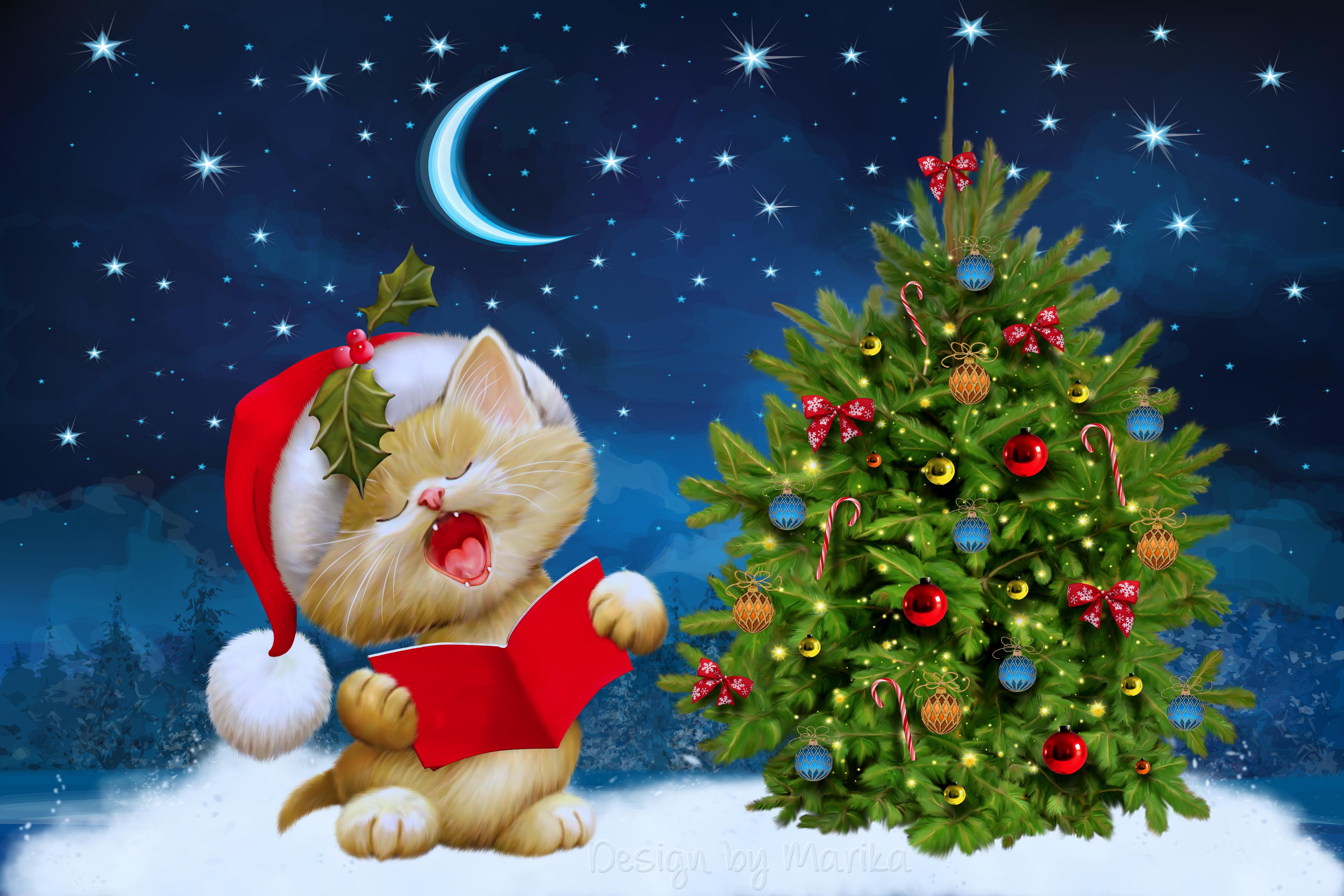 148141 Salvapantallas y fondos de pantalla Año Nuevo en tu teléfono. Descarga imágenes de Vacaciones, Año Nuevo, Navidad, Gato, Tarjeta Postal gratis