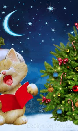 148141 Screensavers and Wallpapers Holidays for phone. Download Holidays, New Year, Christmas, Cat, Postcard pictures for free