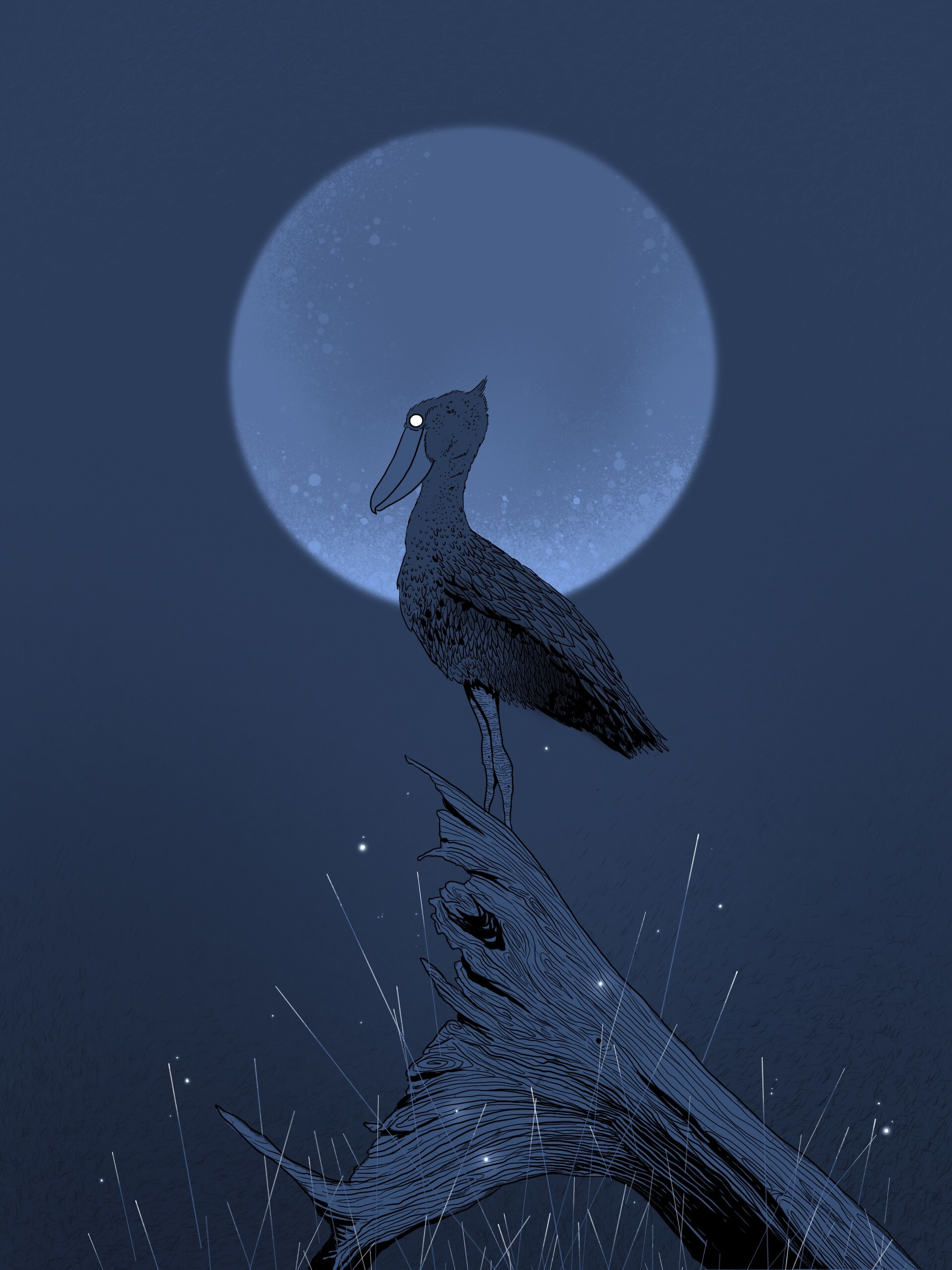 102245 download wallpaper Pelican, Stump, Night, Moon, Bird, Art screensavers and pictures for free