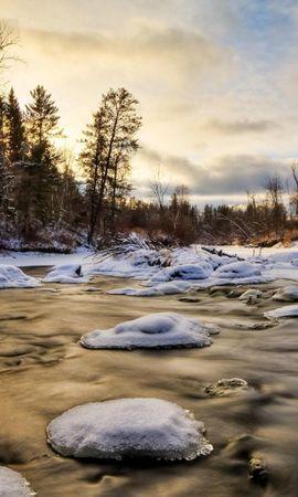 22978 télécharger le fond d'écran Paysage, Hiver, Rivières, Arbres, Neige - économiseurs d'écran et images gratuitement