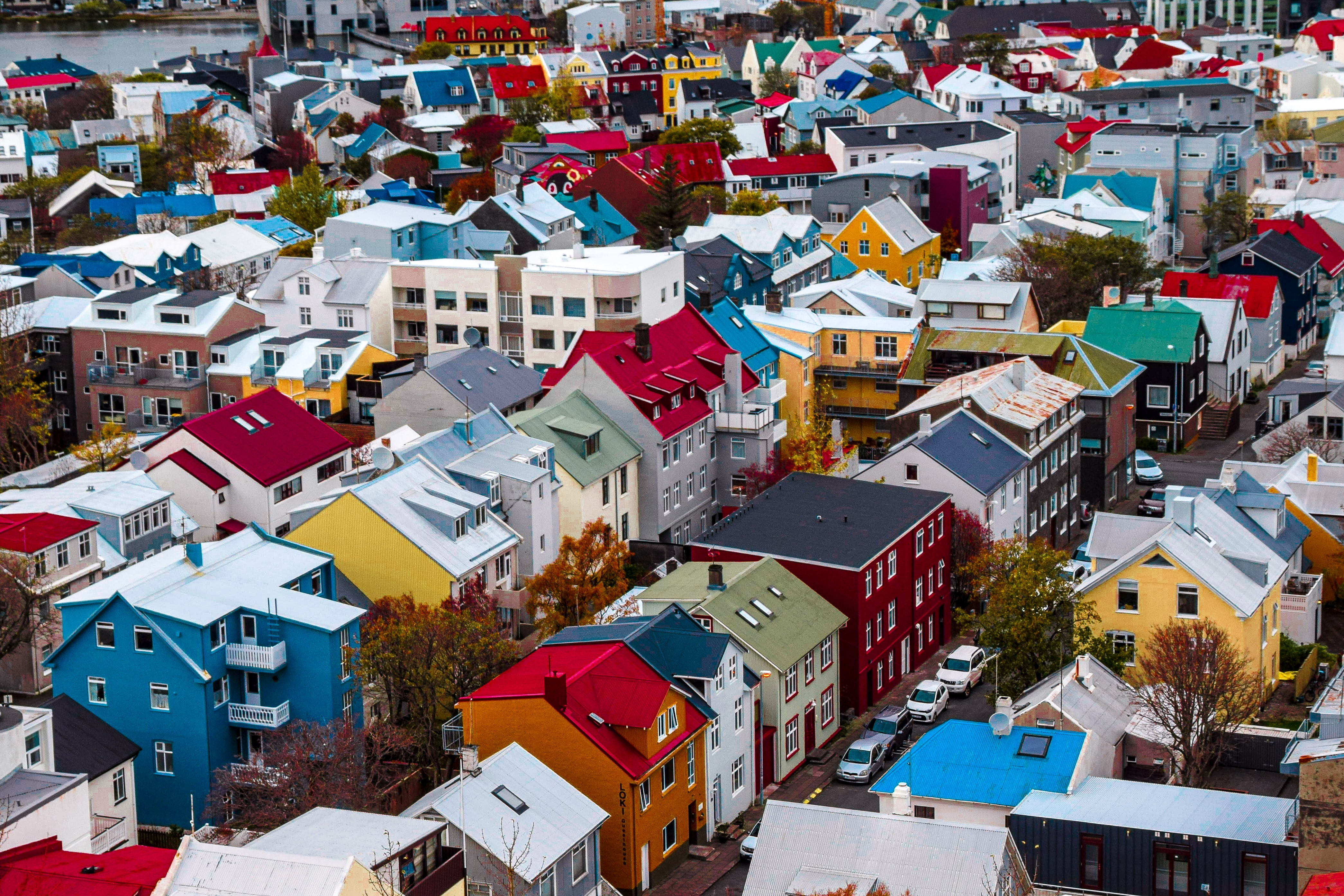 141909 download wallpaper Building, Multicolored, Motley, View From Above, City, Cities screensavers and pictures for free