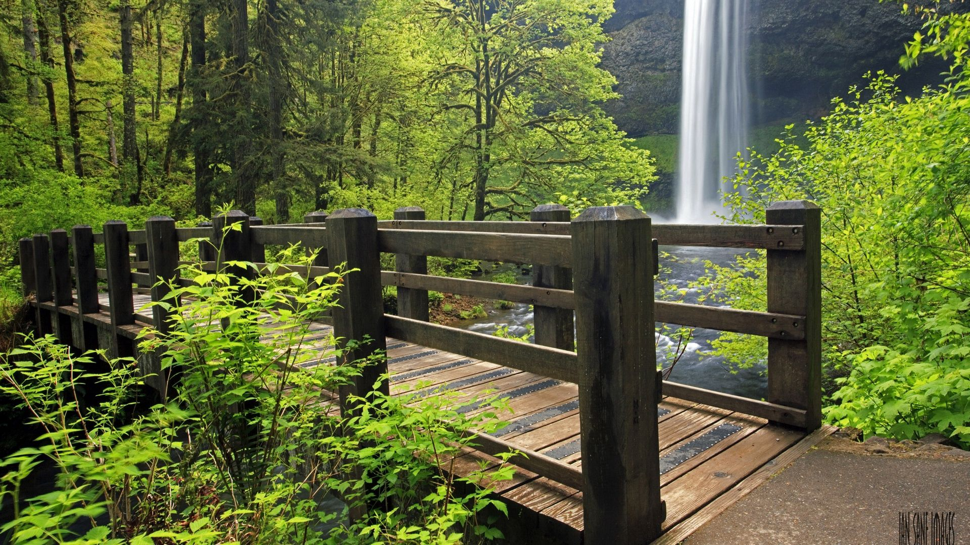 67821 Screensavers and Wallpapers Bridge for phone. Download Nature, Grass, Waterfall, Bridge pictures for free