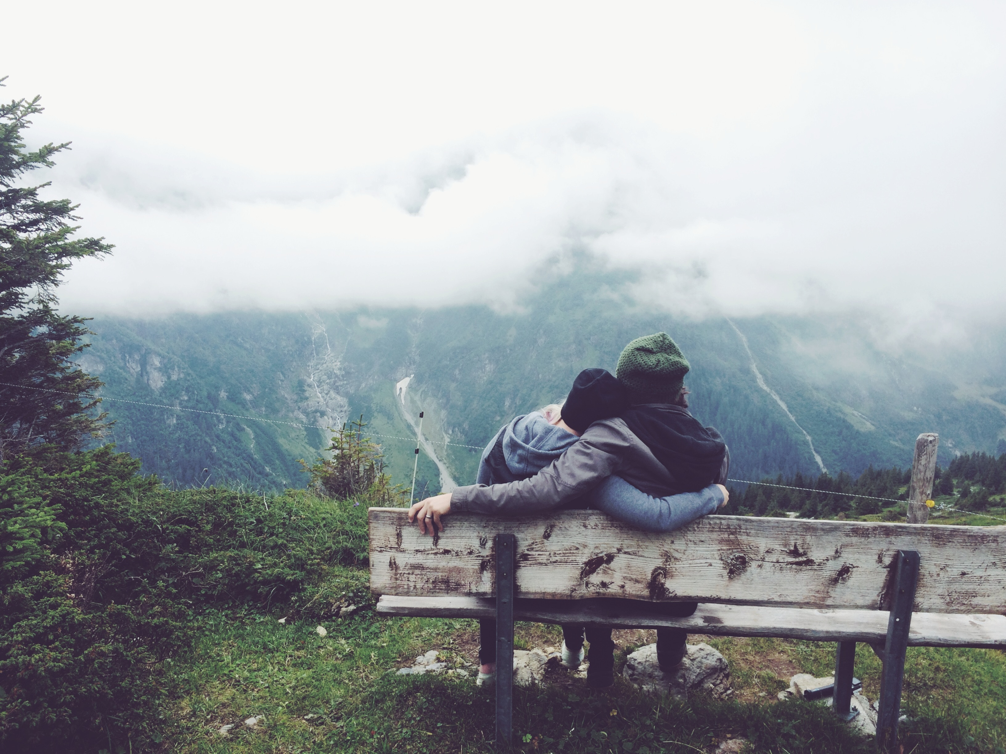102954 Screensavers and Wallpapers Bench for phone. Download Mountains, Love, Couple, Pair, Bench, Embrace pictures for free