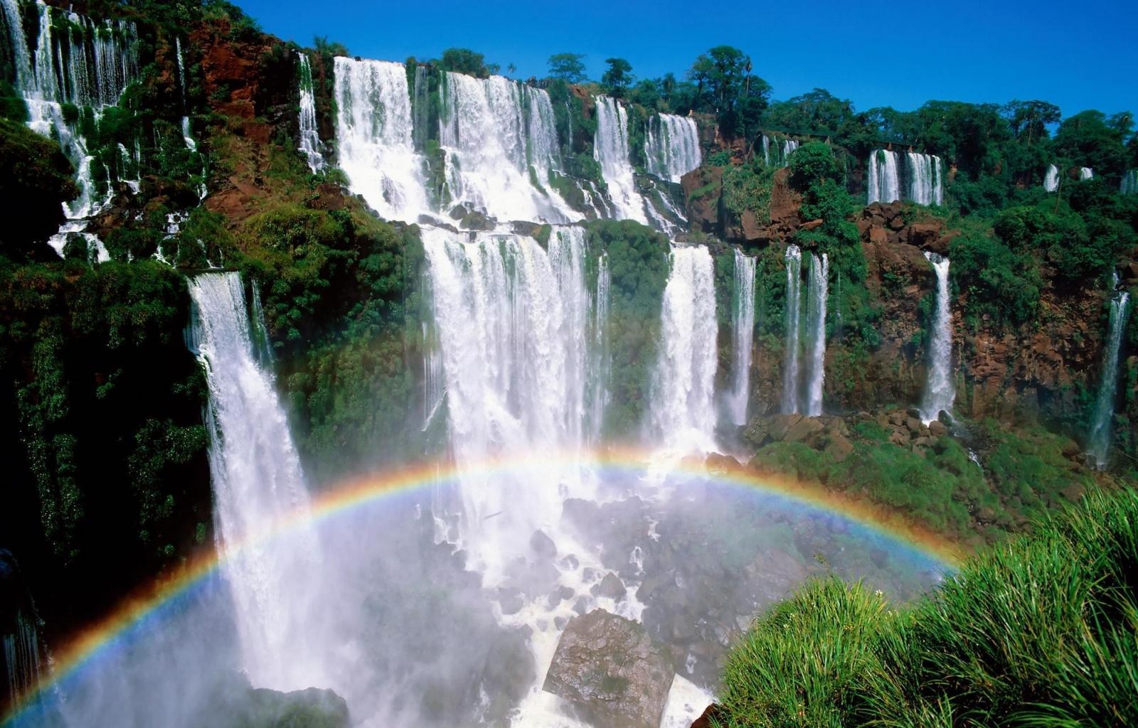 38015 Hintergrundbild herunterladen Wasserfälle, Landschaft, Regenbogen - Bildschirmschoner und Bilder kostenlos