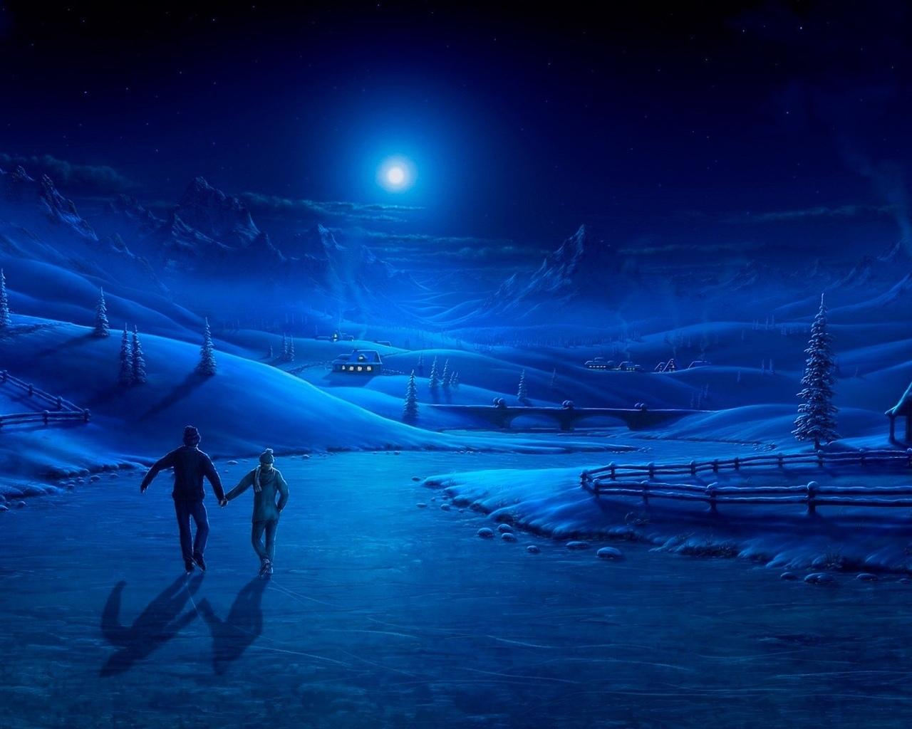 17460 скачать обои Пейзаж, Зима, Ночь, Снег - заставки и картинки бесплатно
