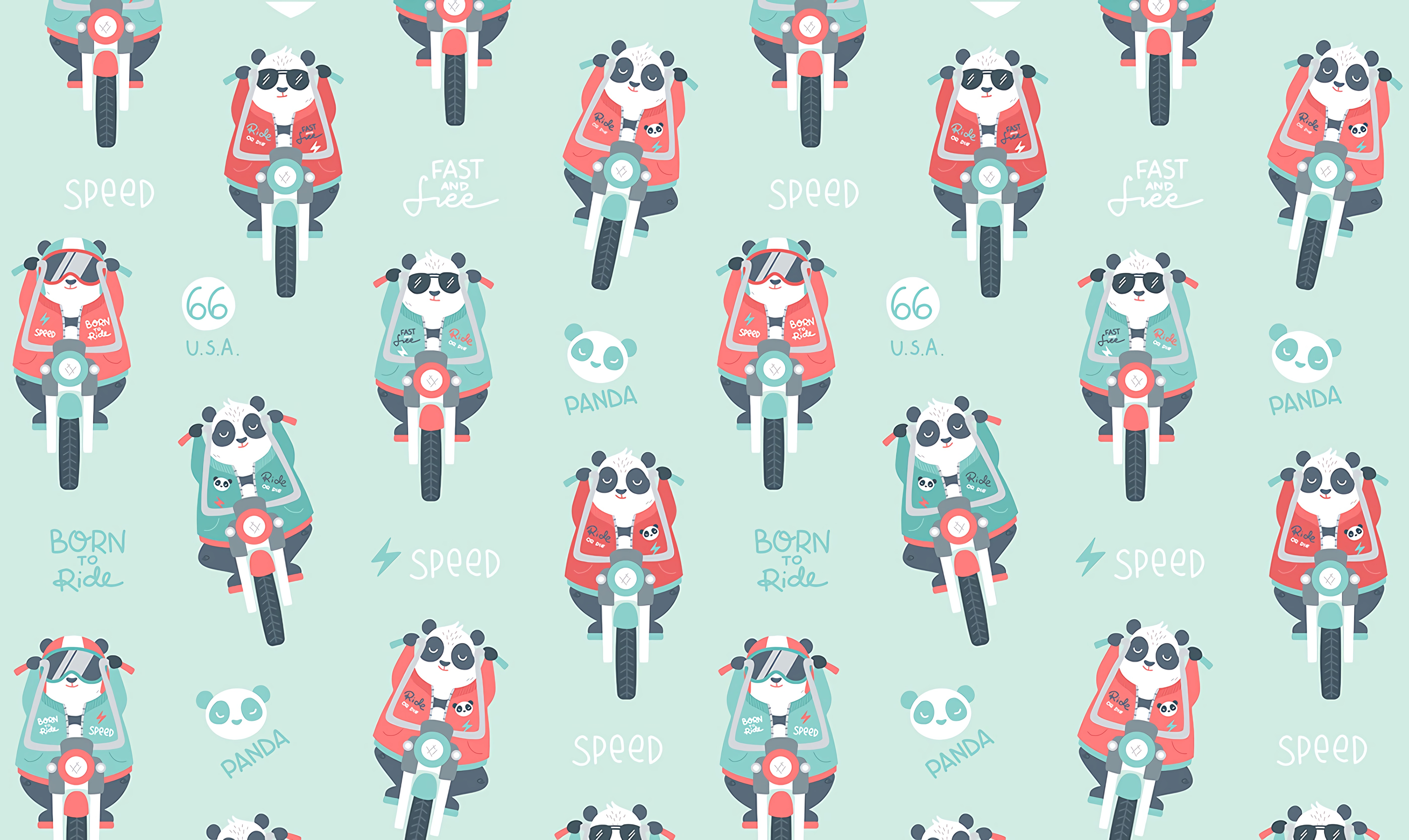 105127 download wallpaper Art, Panda, Motorcycle, Pattern screensavers and pictures for free