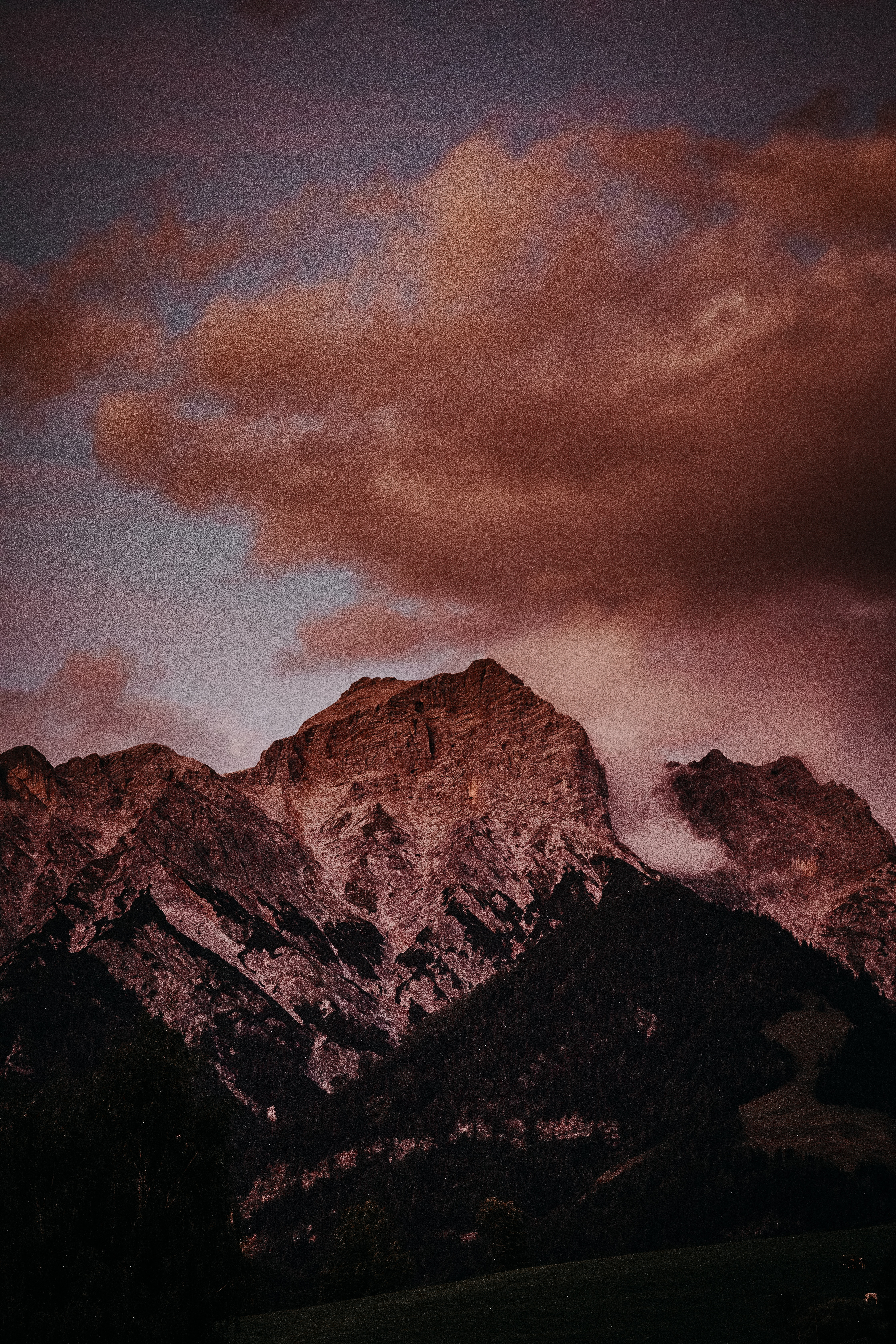 114800 download wallpaper Nature, Vertex, Top, Clouds, Dusk, Twilight, Mountains, Landscape screensavers and pictures for free