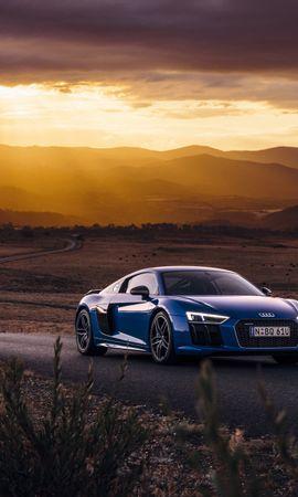 85575 télécharger le fond d'écran Voitures, Audi, R8, V10, Vue De Côté, Route - économiseurs d'écran et images gratuitement