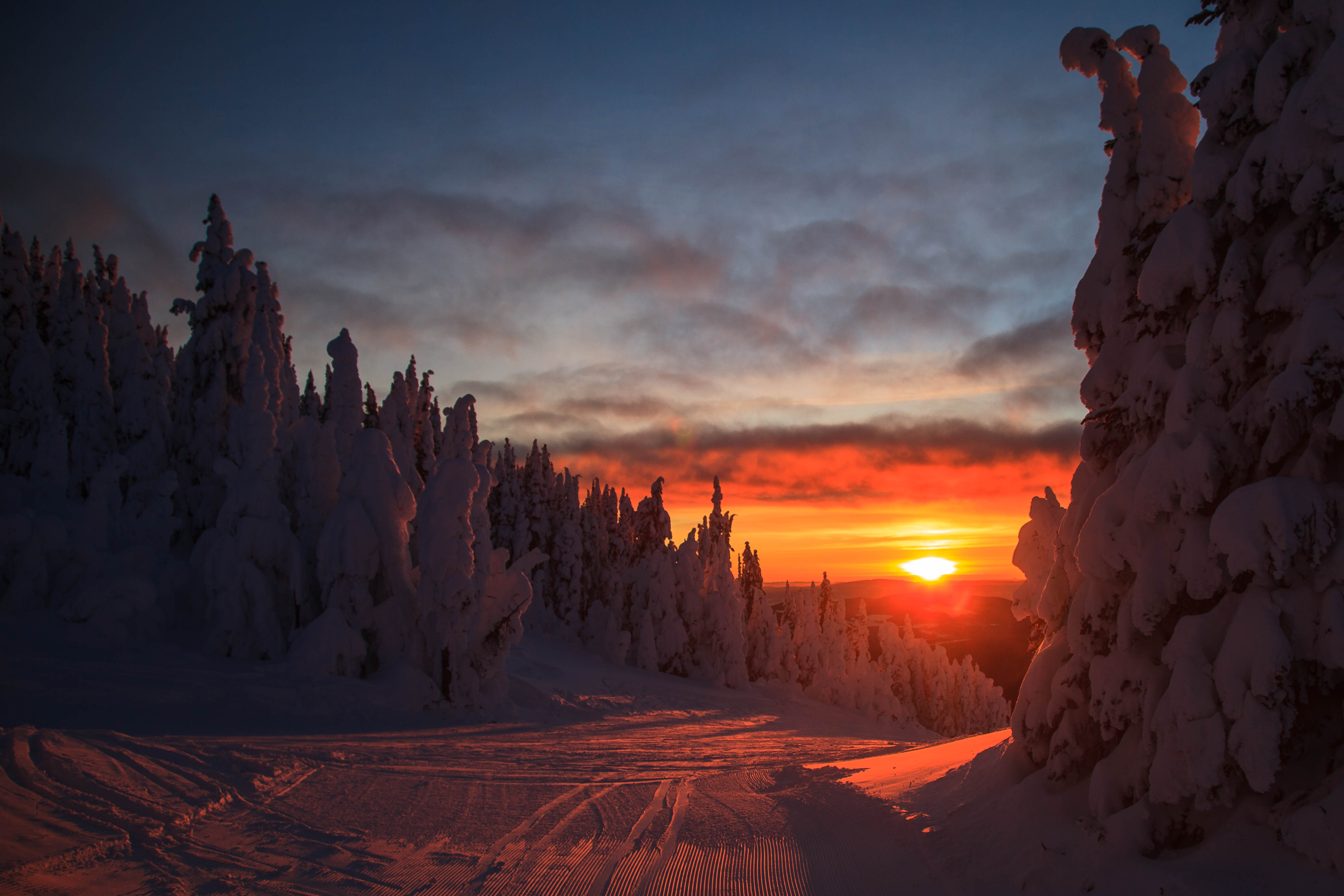 153202 download wallpaper Nature, Forest, Sunset, Winter, Slope, Snow Covered, Snowbound, Landscape screensavers and pictures for free