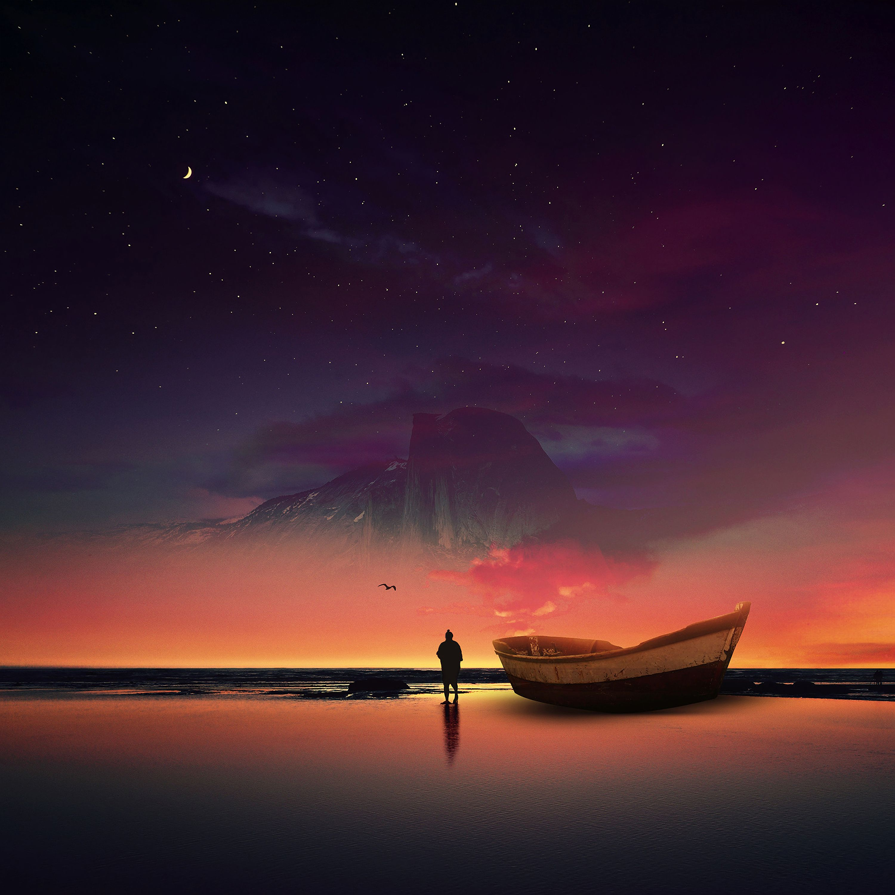 155898 Screensavers and Wallpapers Boat for phone. Download Night, Shore, Bank, Dark, Silhouette, Ocean, Starry Sky, Boat, Photoshop pictures for free