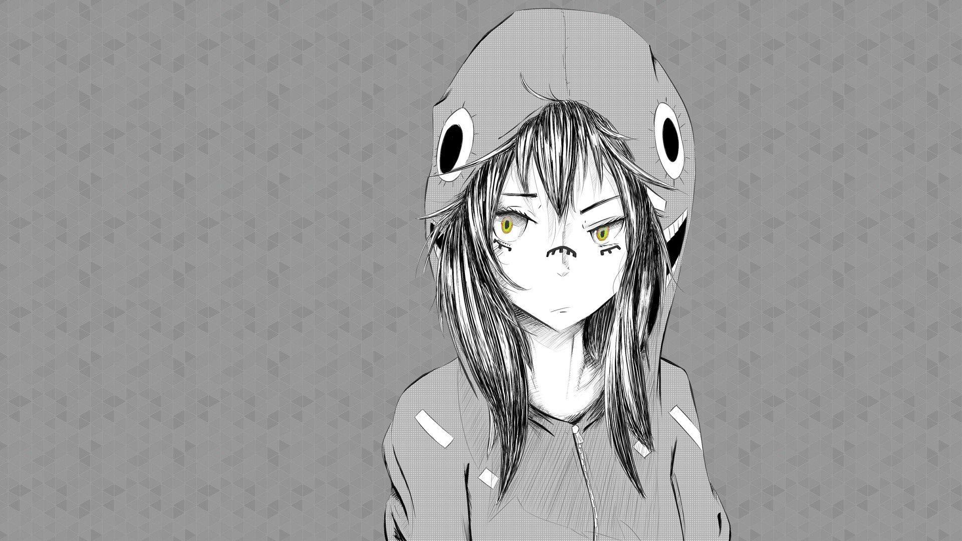 146284 baixar papel de parede Anime, Menina, Garota, Foto, Desenho, Boné, Bw, Chb - protetores de tela e imagens gratuitamente