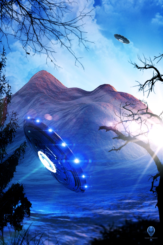 120775 Hintergrundbild herunterladen Sonstige, Mountains, Scheinen, Licht, Verschiedenes, Hintergrundbeleuchtung, Beleuchtung, Ufo, Außerirdische, Aliens - Bildschirmschoner und Bilder kostenlos