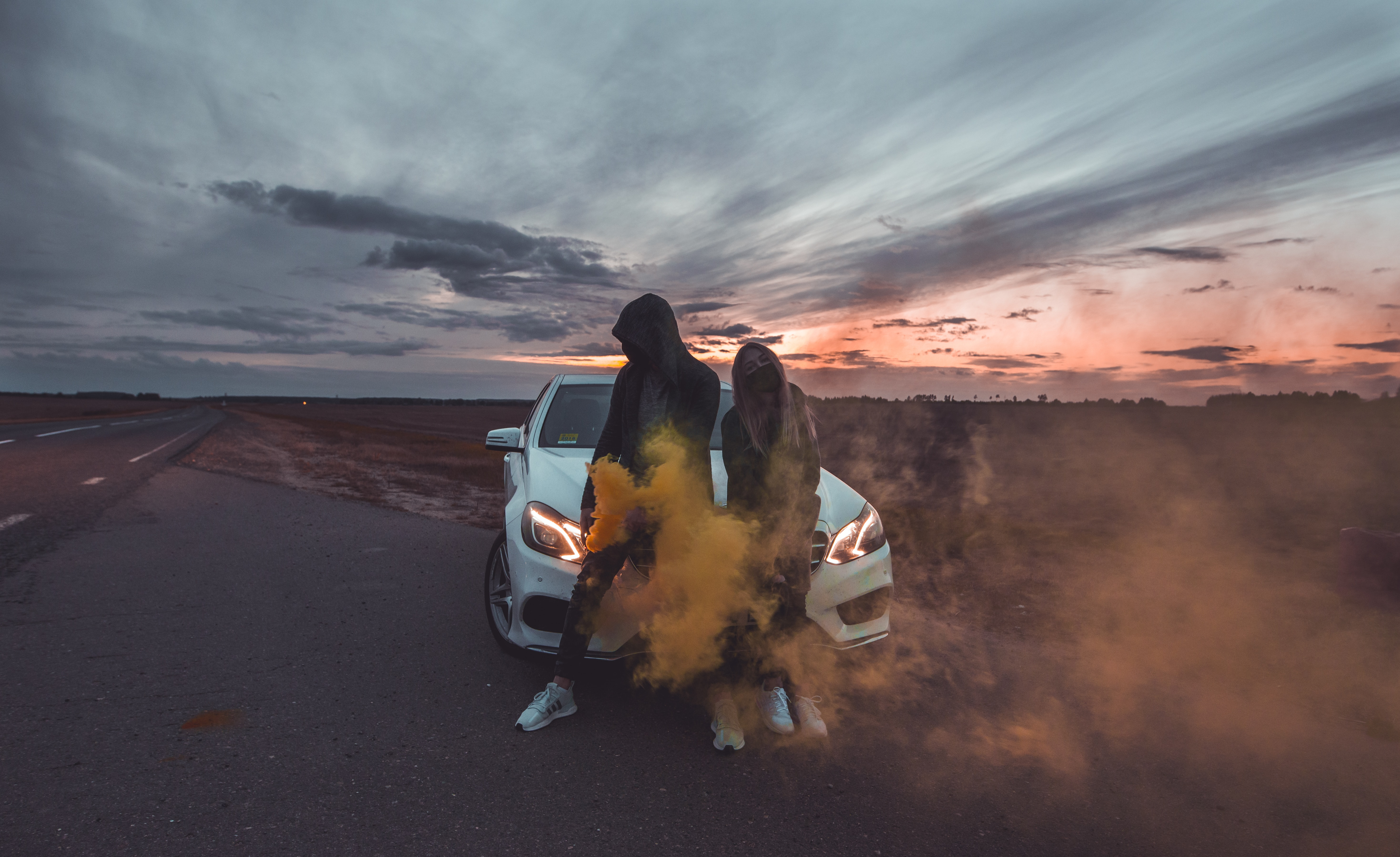 80589 download wallpaper Miscellanea, Miscellaneous, Couple, Pair, Car, Girl, Guy, Smoke screensavers and pictures for free