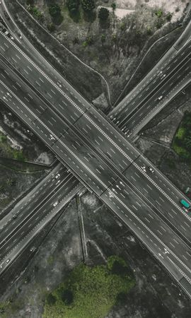 113724 Screensavers and Wallpapers Roads for phone. Download Transport Interchange, Interchange, Roads, View From Above, Traffic, Movement, Direction, Cities pictures for free