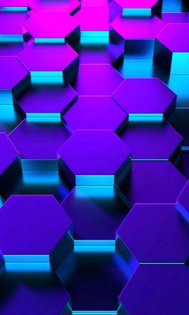 82574 Protetores de tela e papéis de parede 3D em seu telefone. Baixe 3D, Hexágonos, Forma, Renderização, Luz De Fundo, Iluminação fotos gratuitamente