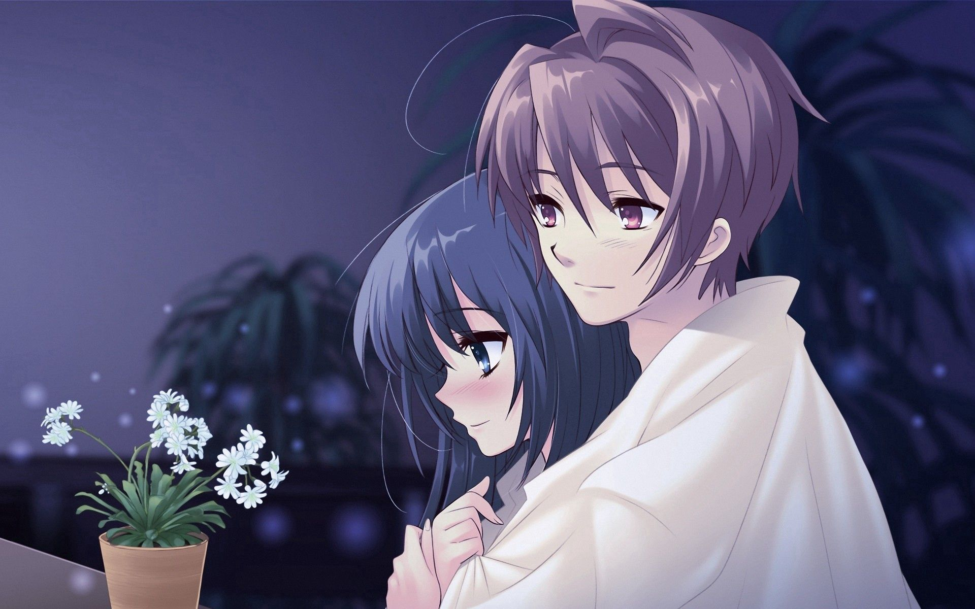 134988 download wallpaper Anime, Guy, Girl, Pot, Flower, Embrace screensavers and pictures for free
