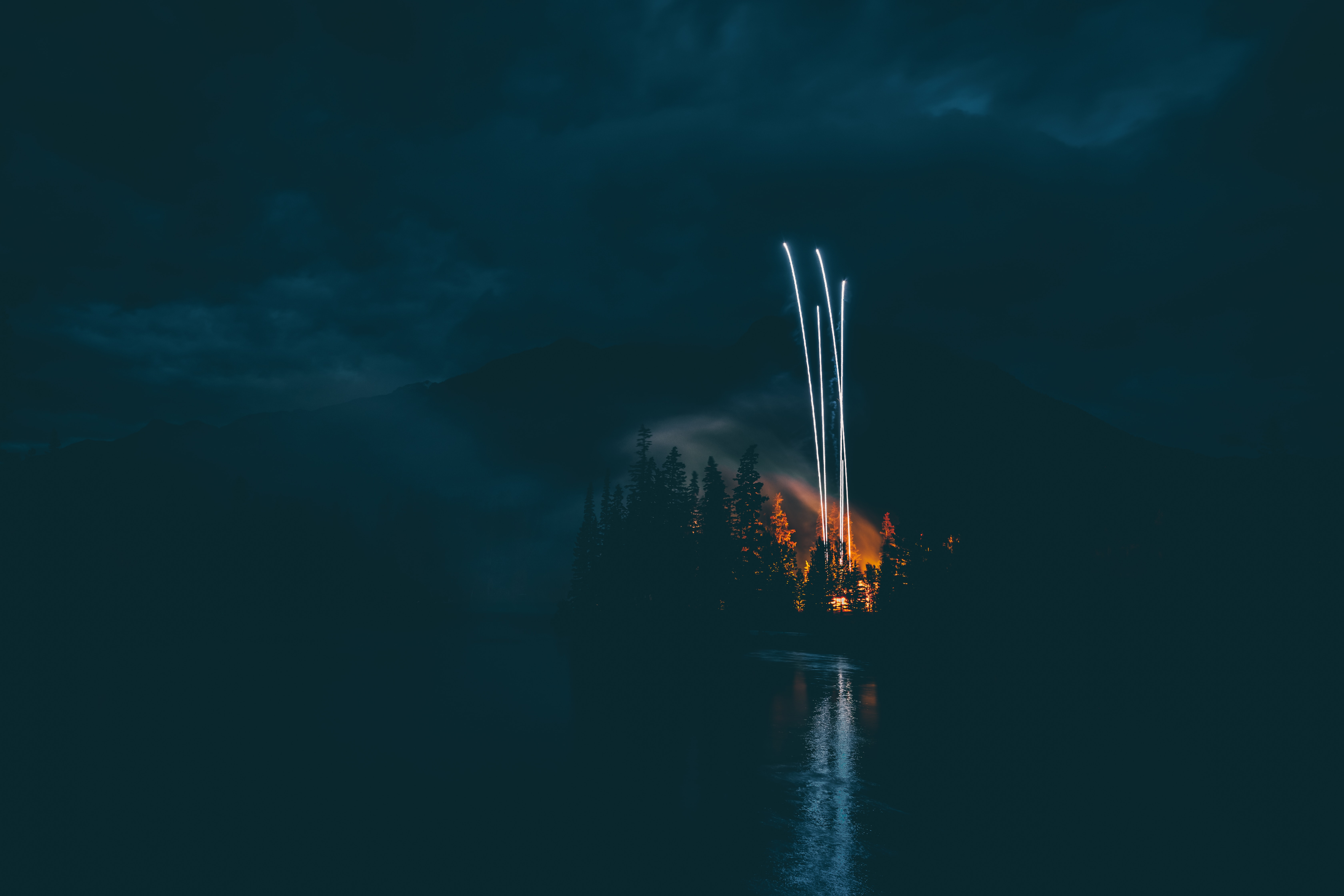 87324 download wallpaper Dark, Night, Lake, Shore, Bank, Fireworks, Firework screensavers and pictures for free