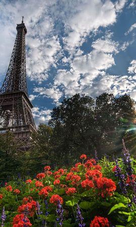 133933 baixar papel de parede Árvores, Paris, Cidades, Torre Eiffel, Sol, Flores - protetores de tela e imagens gratuitamente