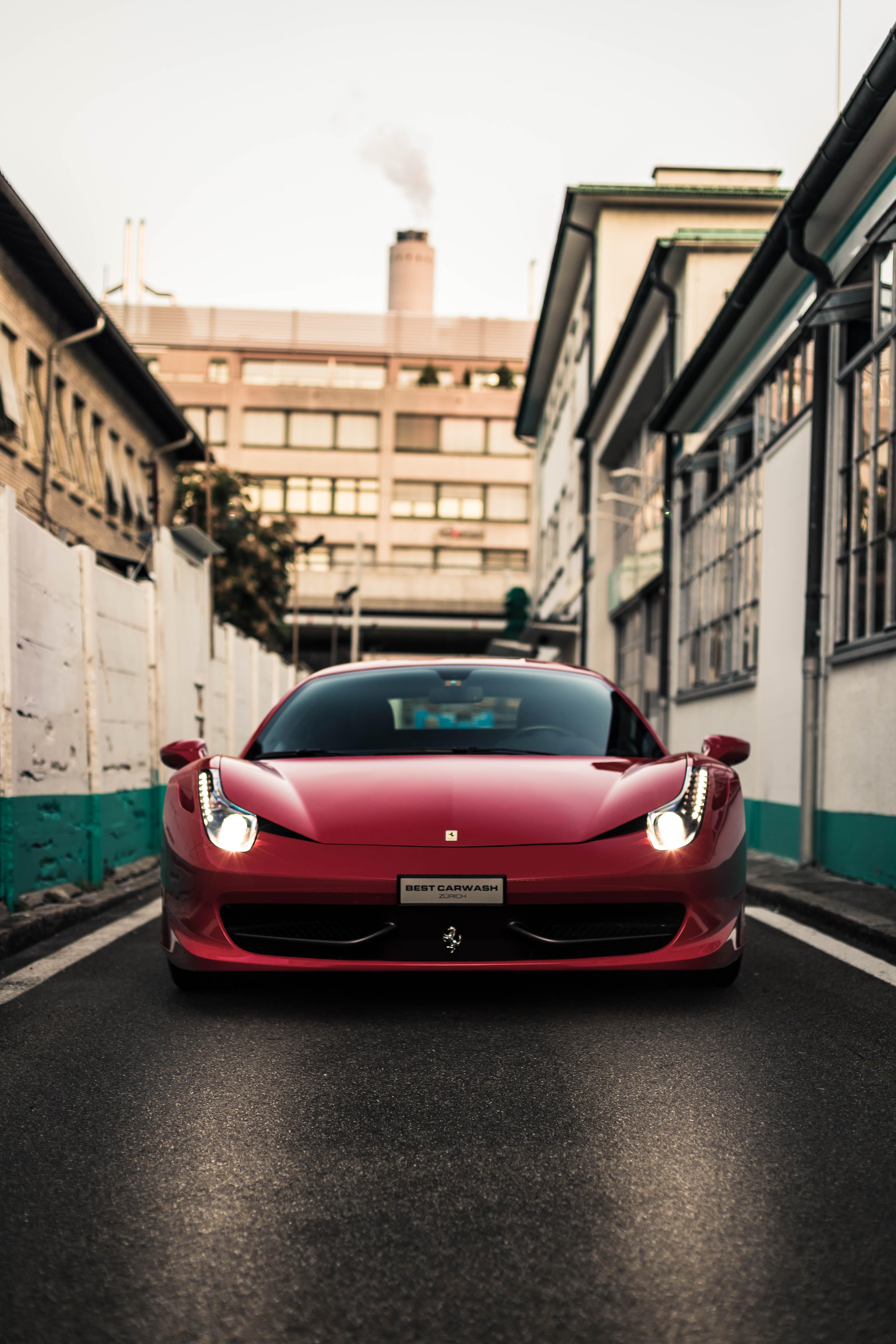 145634 скачать обои Феррари (Ferrari), Тачки (Cars), Красный, Вид Спереди, Спорткар - заставки и картинки бесплатно