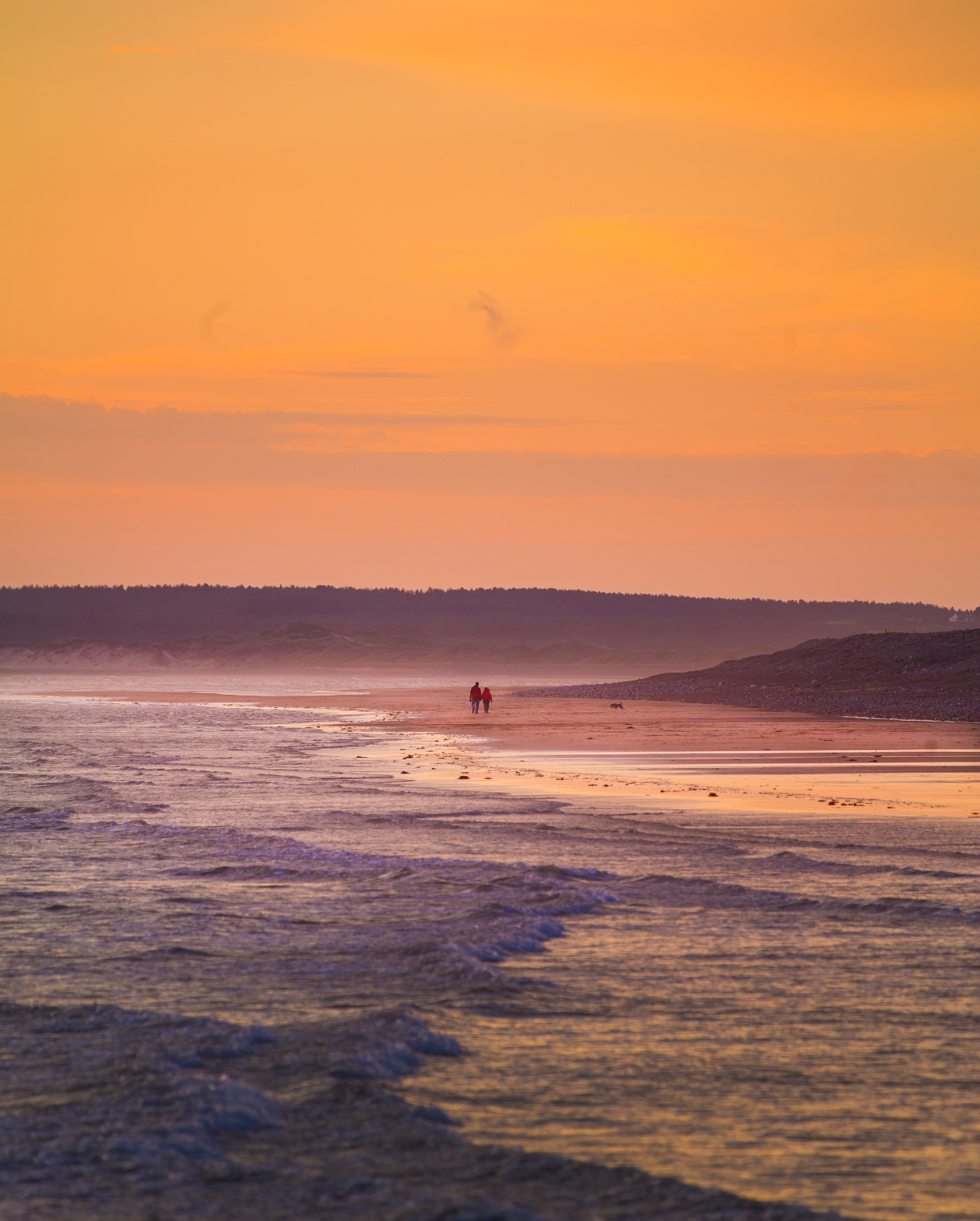 134360 download wallpaper Nature, Surf, Sunset, Stroll, Sea, Dinas, Dynas, Great Britain, United Kingdom screensavers and pictures for free