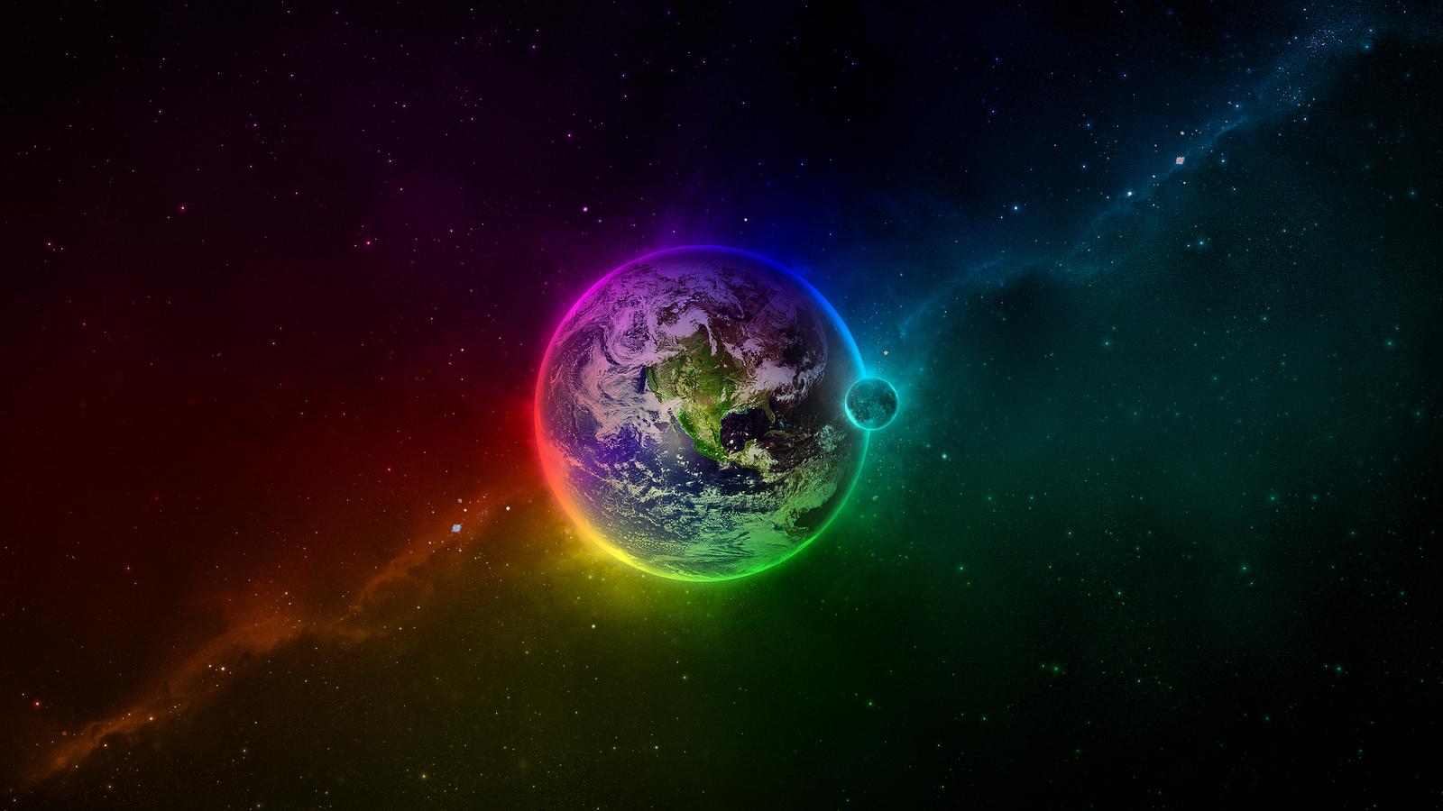 12657 скачать обои Планеты, Радуга, Пейзаж, Арт, Космос - заставки и картинки бесплатно