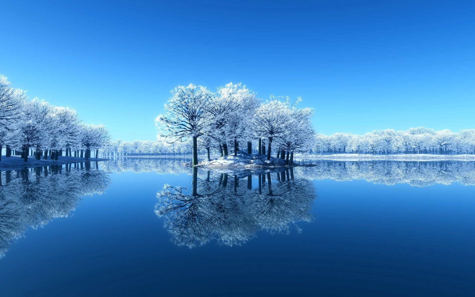 157824 download wallpaper Surface, Nature, Trees, Lake, Frost, Hoarfrost, Island, Islet, Purity screensavers and pictures for free
