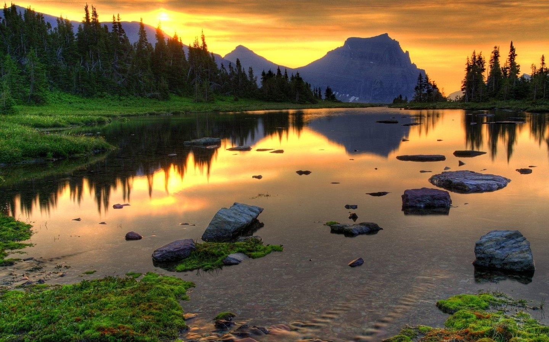 23490 скачать обои Пейзаж, Река, Закат, Горы - заставки и картинки бесплатно