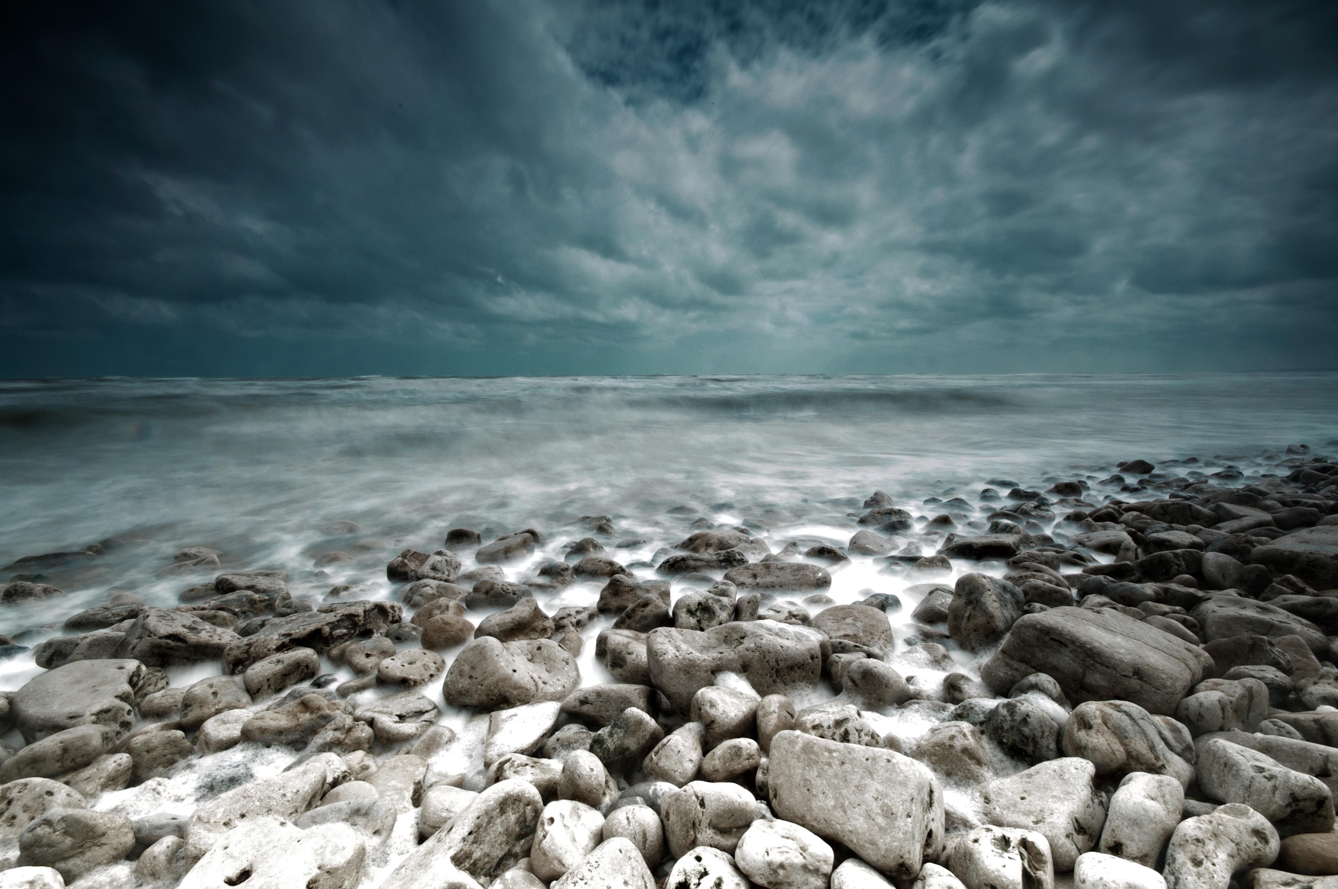 54309 download wallpaper Landscape, Nature, Stones, Sea, Shore, Bank, Gloomy screensavers and pictures for free