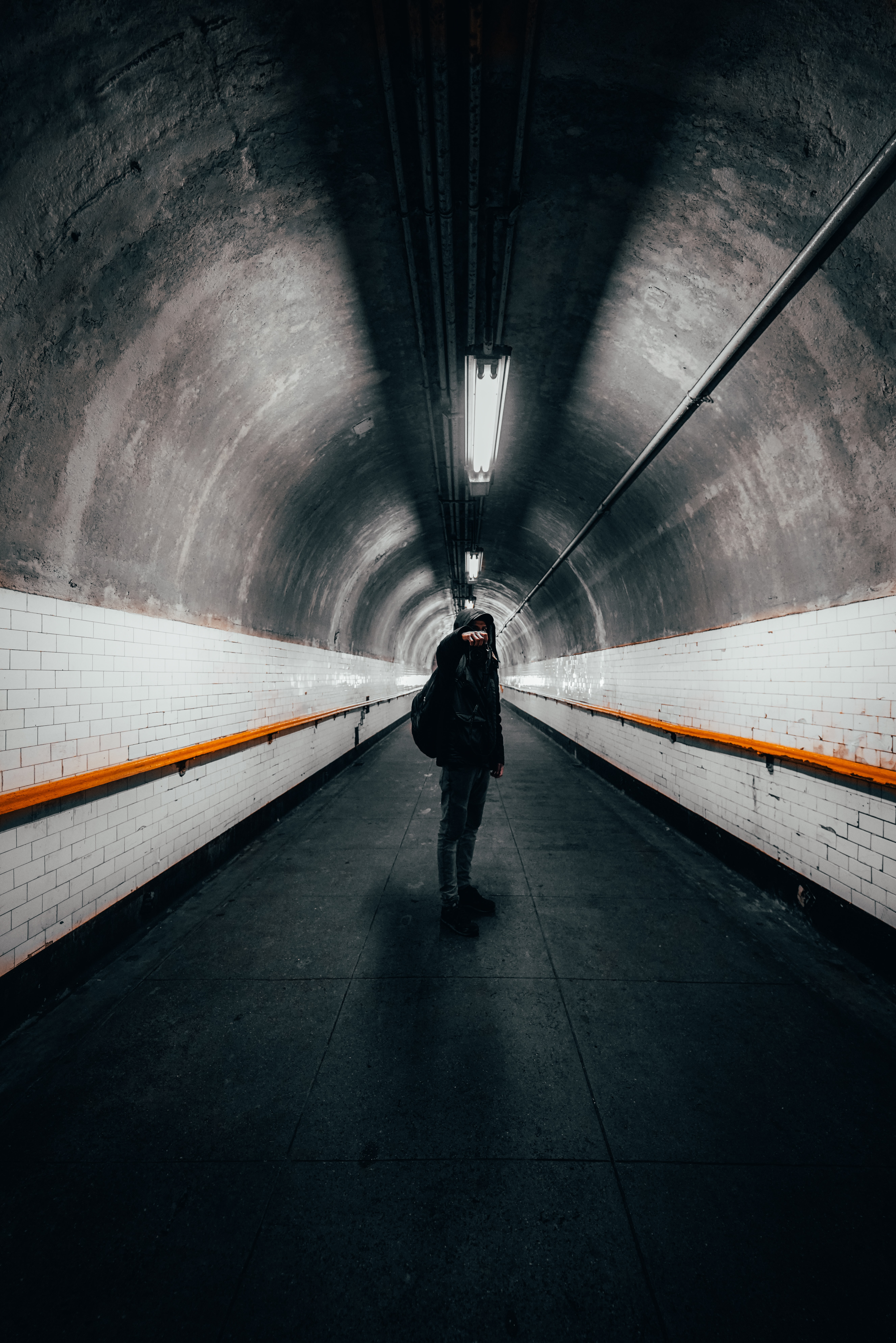 154442 Screensavers and Wallpapers Photographer for phone. Download Miscellanea, Miscellaneous, Human, Person, Loneliness, Photographer, Camera, Tunnel pictures for free