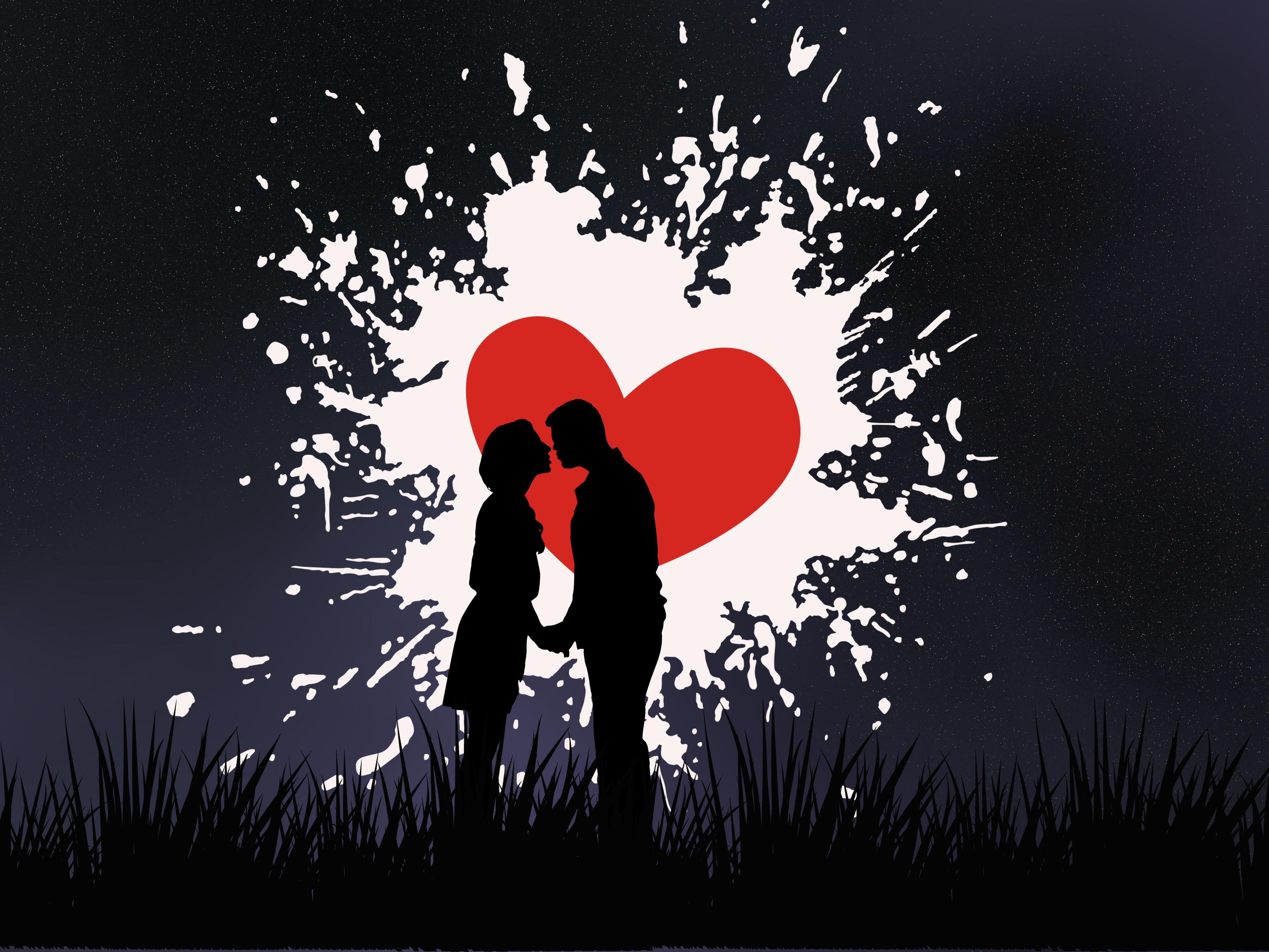 113074 скачать обои Поцелуй, Любовь, Пара, Силуэты, Сердце - заставки и картинки бесплатно