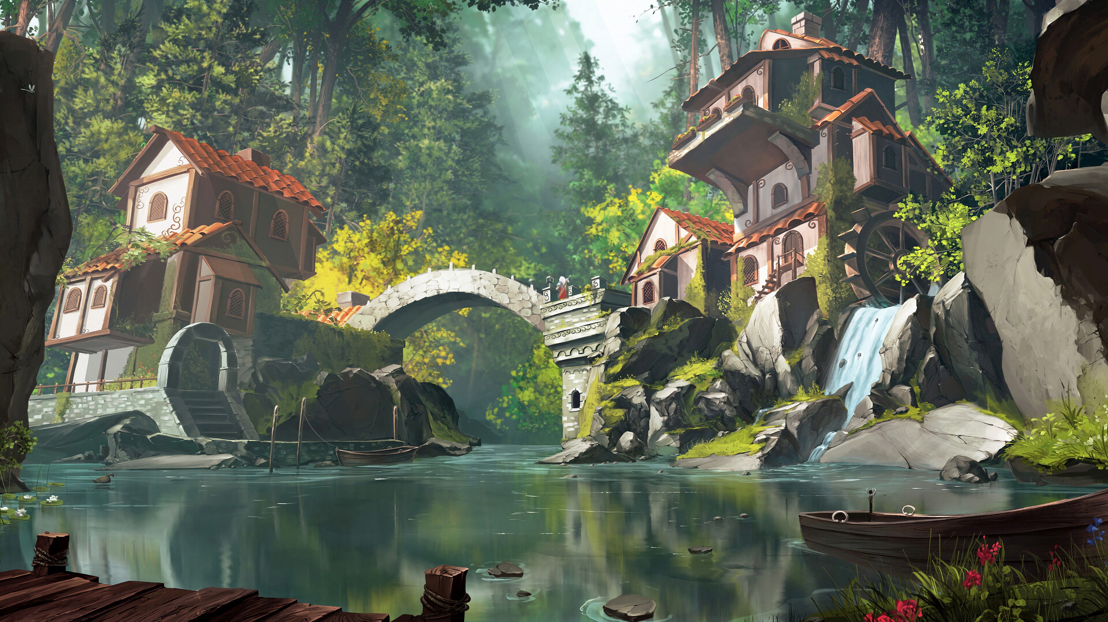 145184 free wallpaper 480x800 for phone, download images Stones, Art, Waterfall, Small House, Lodge 480x800 for mobile