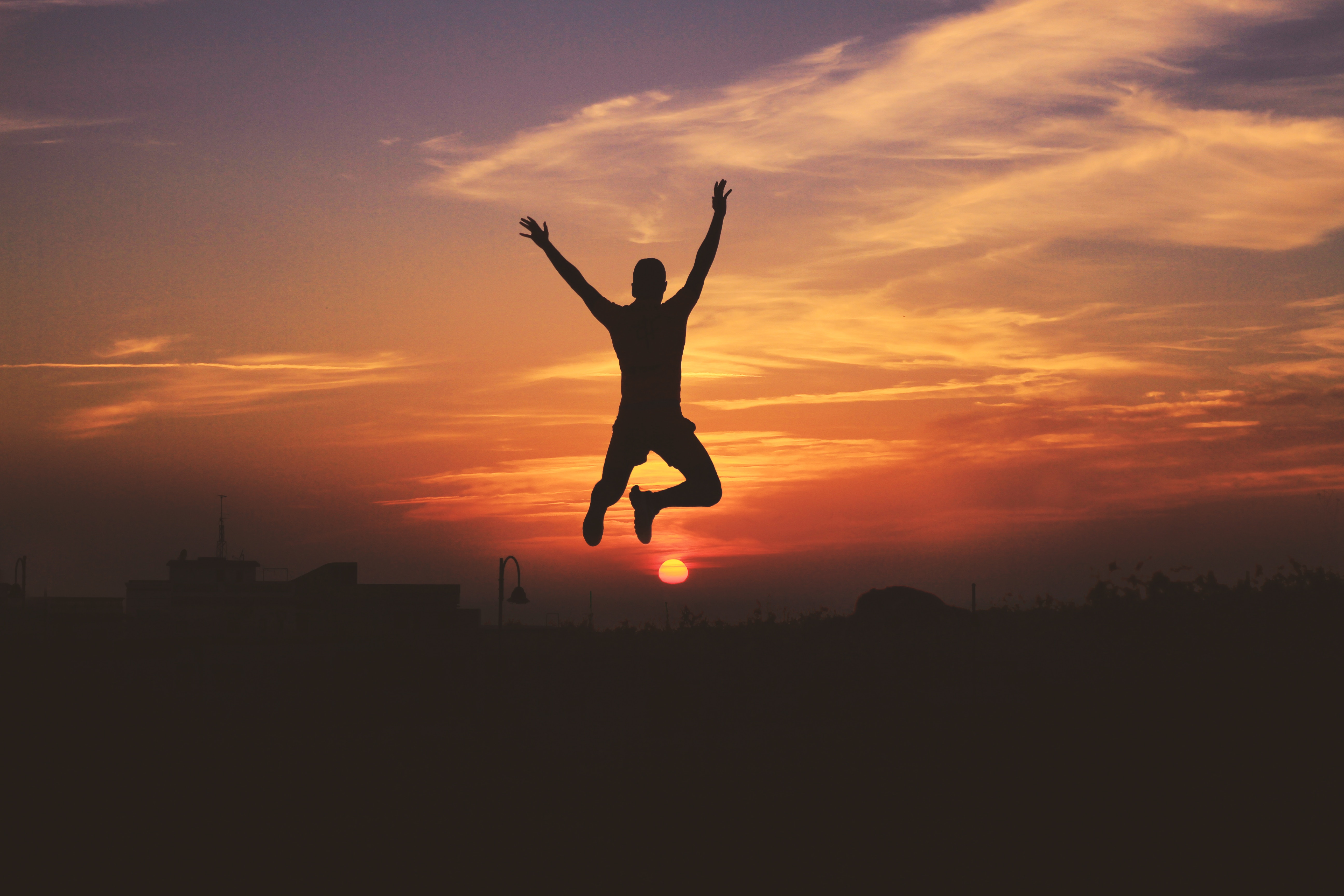 145627 Screensavers and Wallpapers Human for phone. Download Sunset, Sky, Dark, Silhouette, Human, Person, Bounce, Jump pictures for free