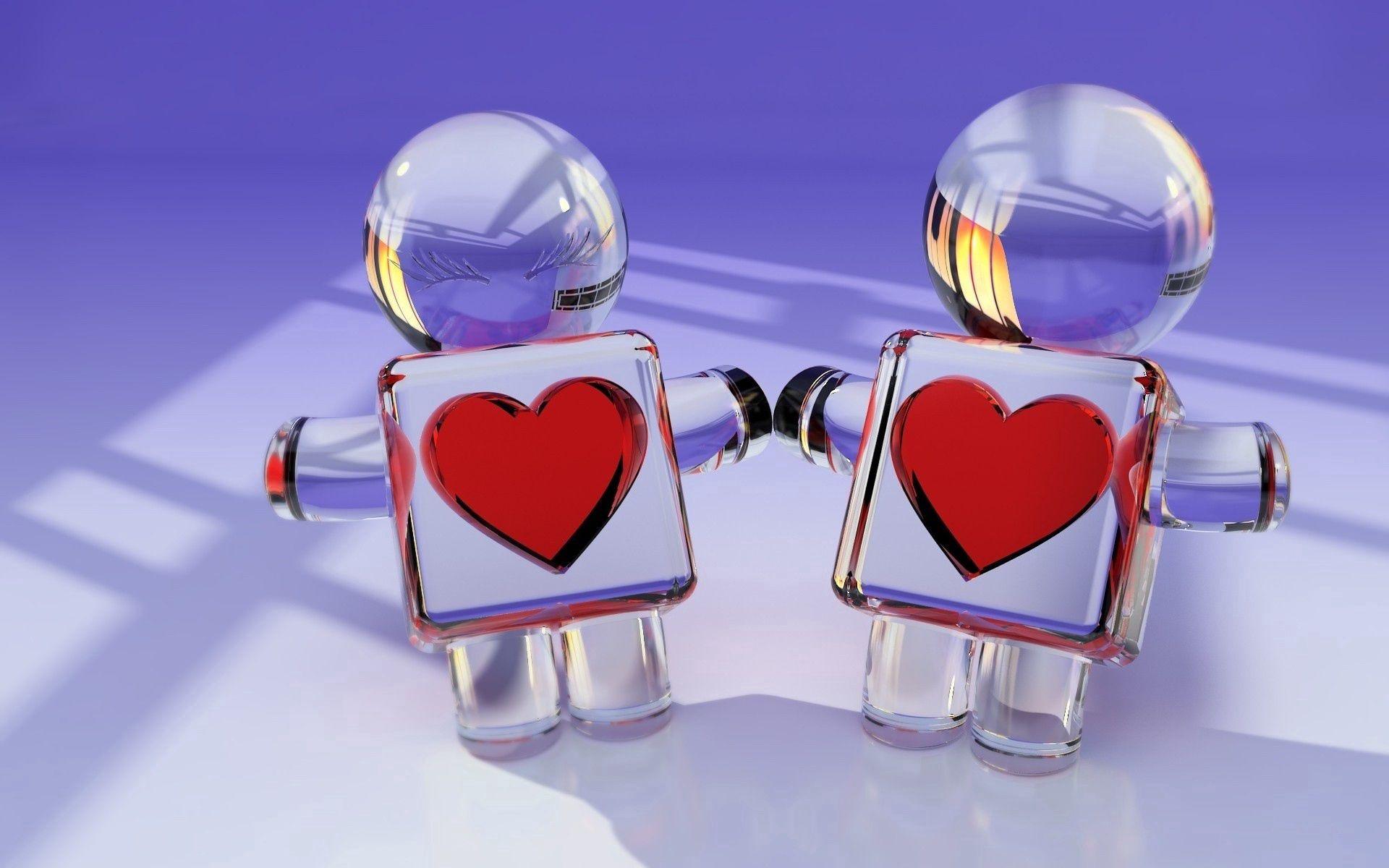 69188 Hintergrundbild herunterladen Herzen, Spielzeug, Liebe, Paar, 3D, Glas, Ein Herz - Bildschirmschoner und Bilder kostenlos