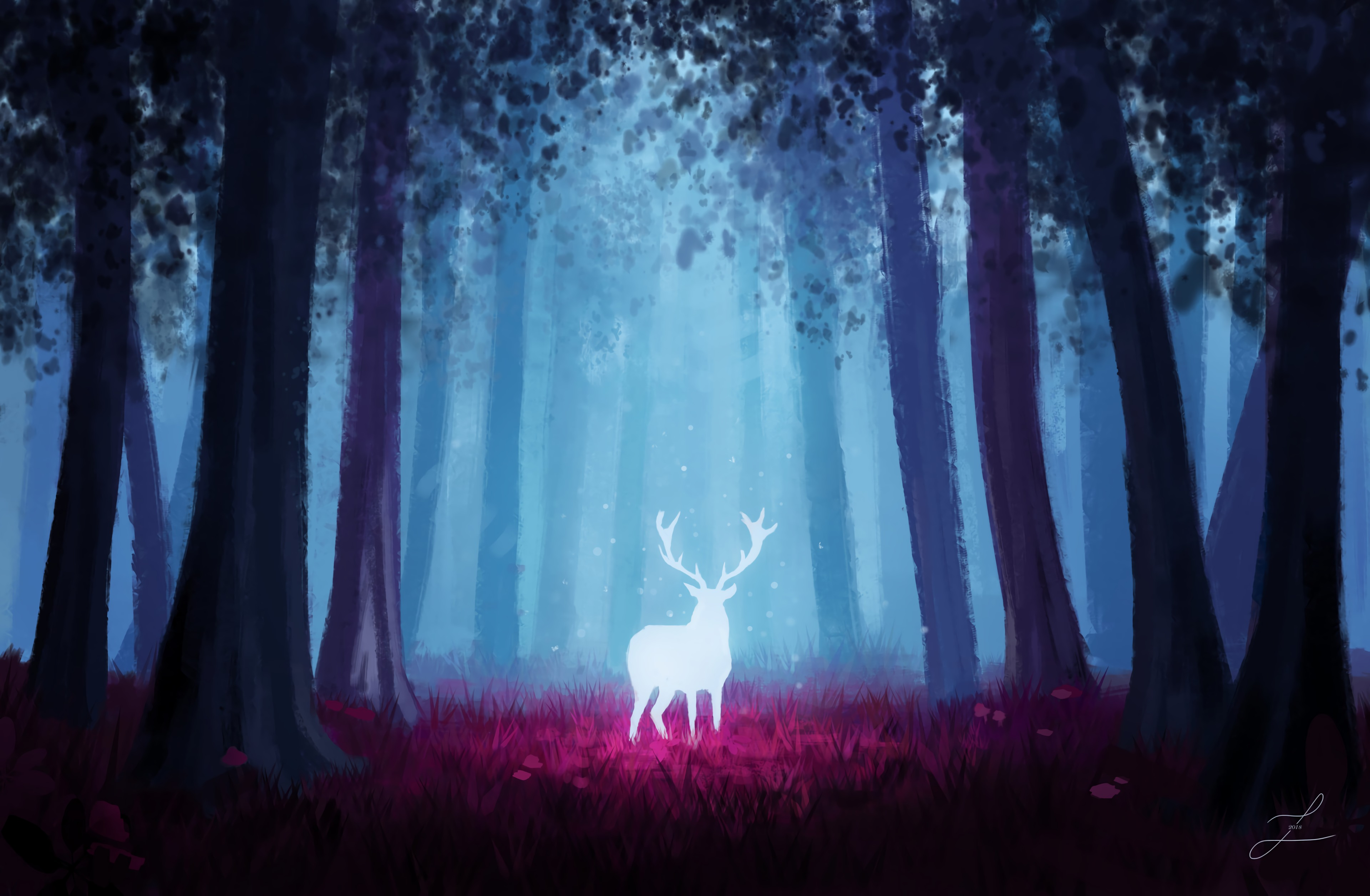 92638 download wallpaper Deer, Forest, Art, Shine, Light, Glow screensavers and pictures for free