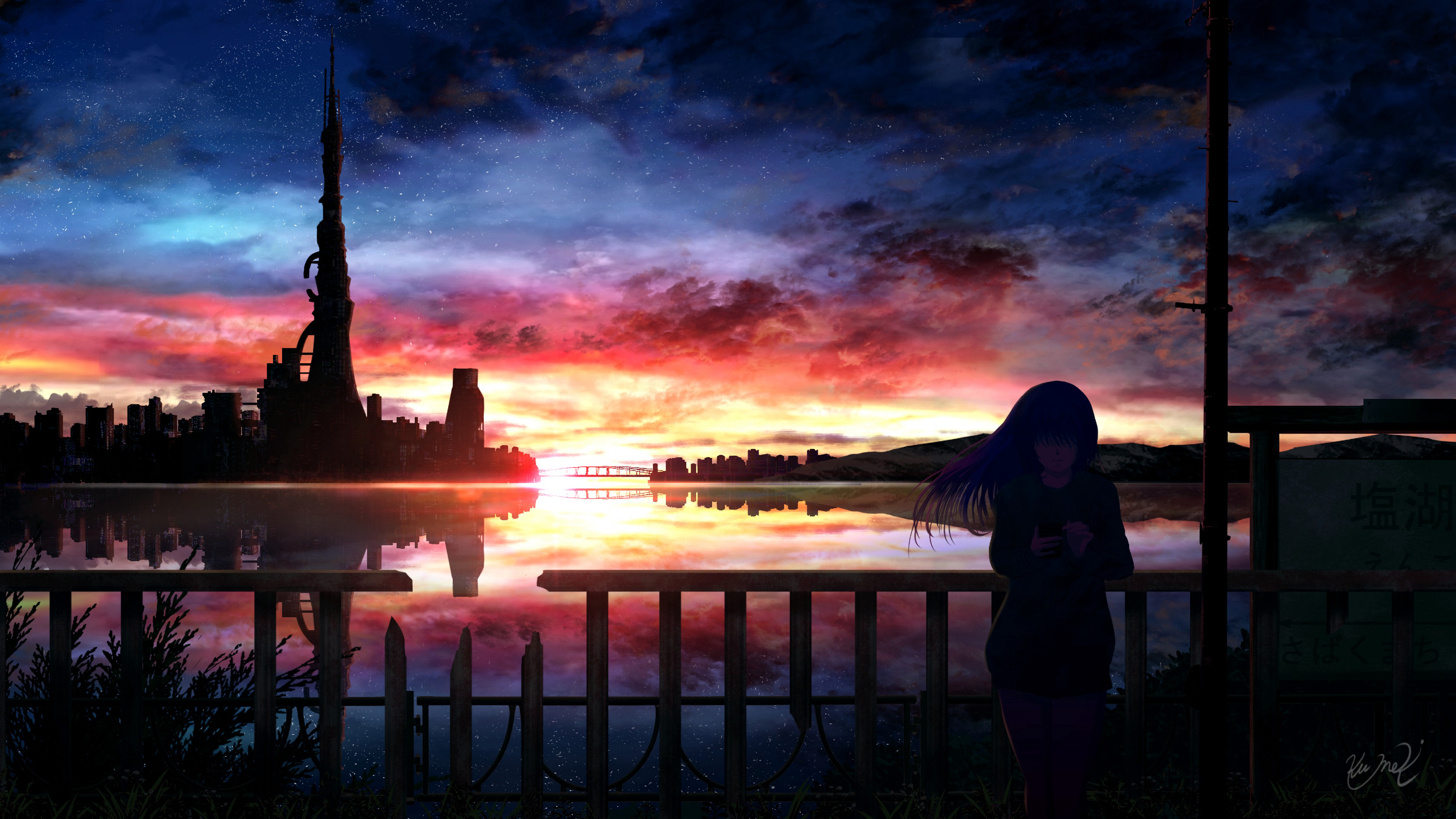 60229 download wallpaper Anime, Girl, Starry Sky, Night, Silhouette screensavers and pictures for free