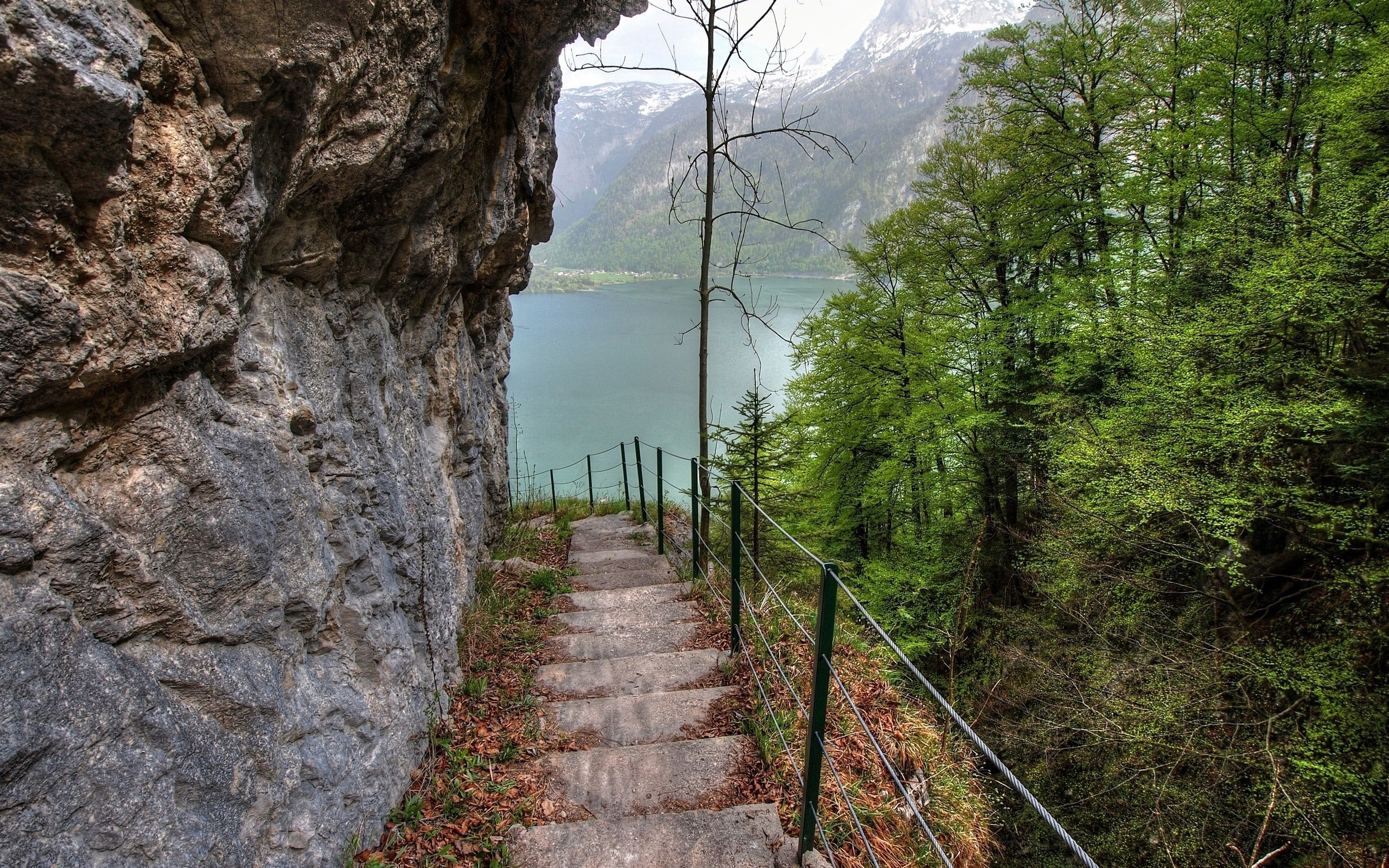 117200 download wallpaper Nature, Trees, Mountains, Rock, Lake, Steps, Descent screensavers and pictures for free