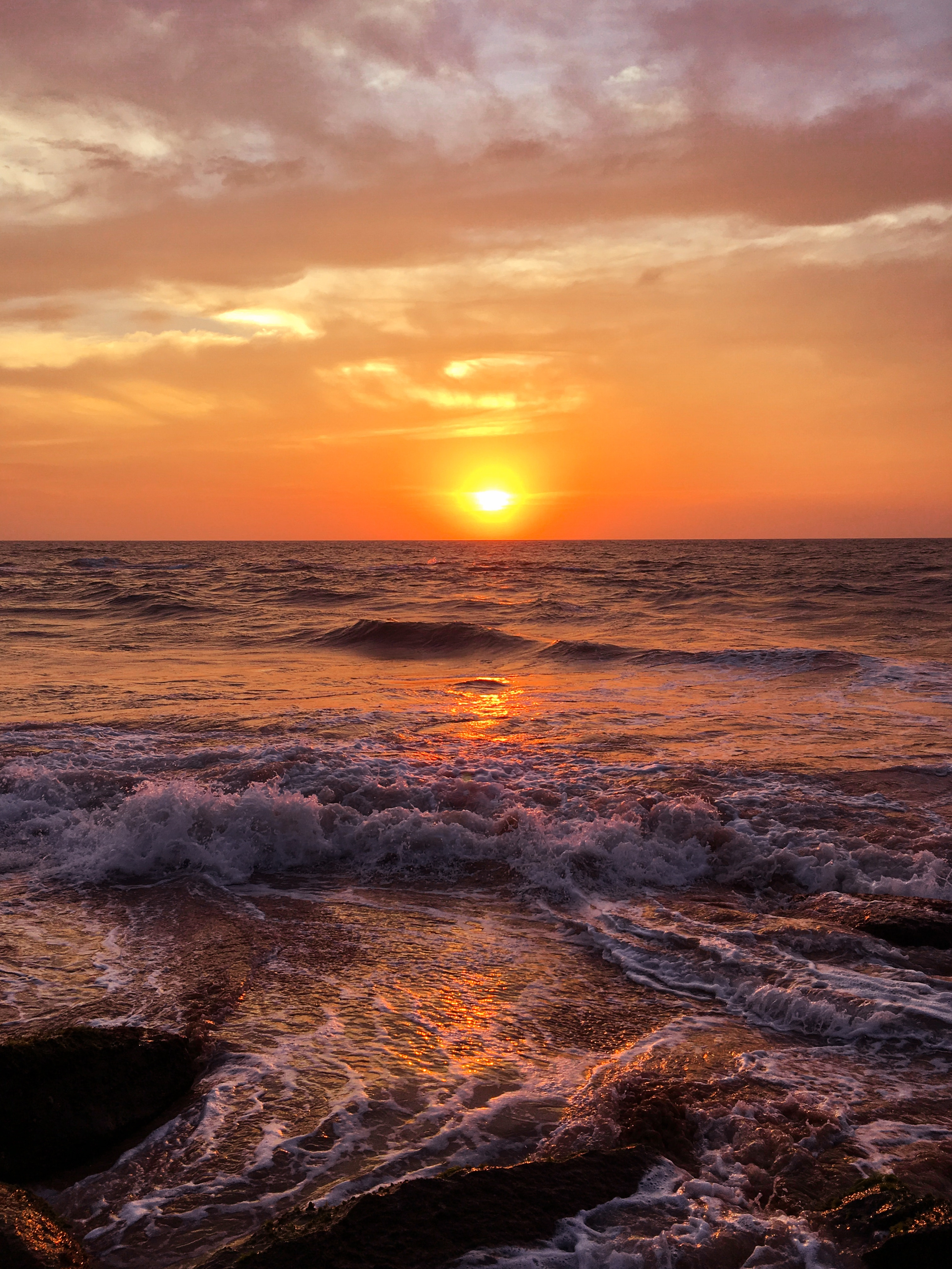 87099 скачать обои Море, Океан, Закат, Природа, Горизонт, Пена, Прибой - заставки и картинки бесплатно