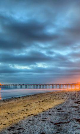 20861 скачать обои Пейзаж, Море, Облака, Пляж, Пальмы - заставки и картинки бесплатно