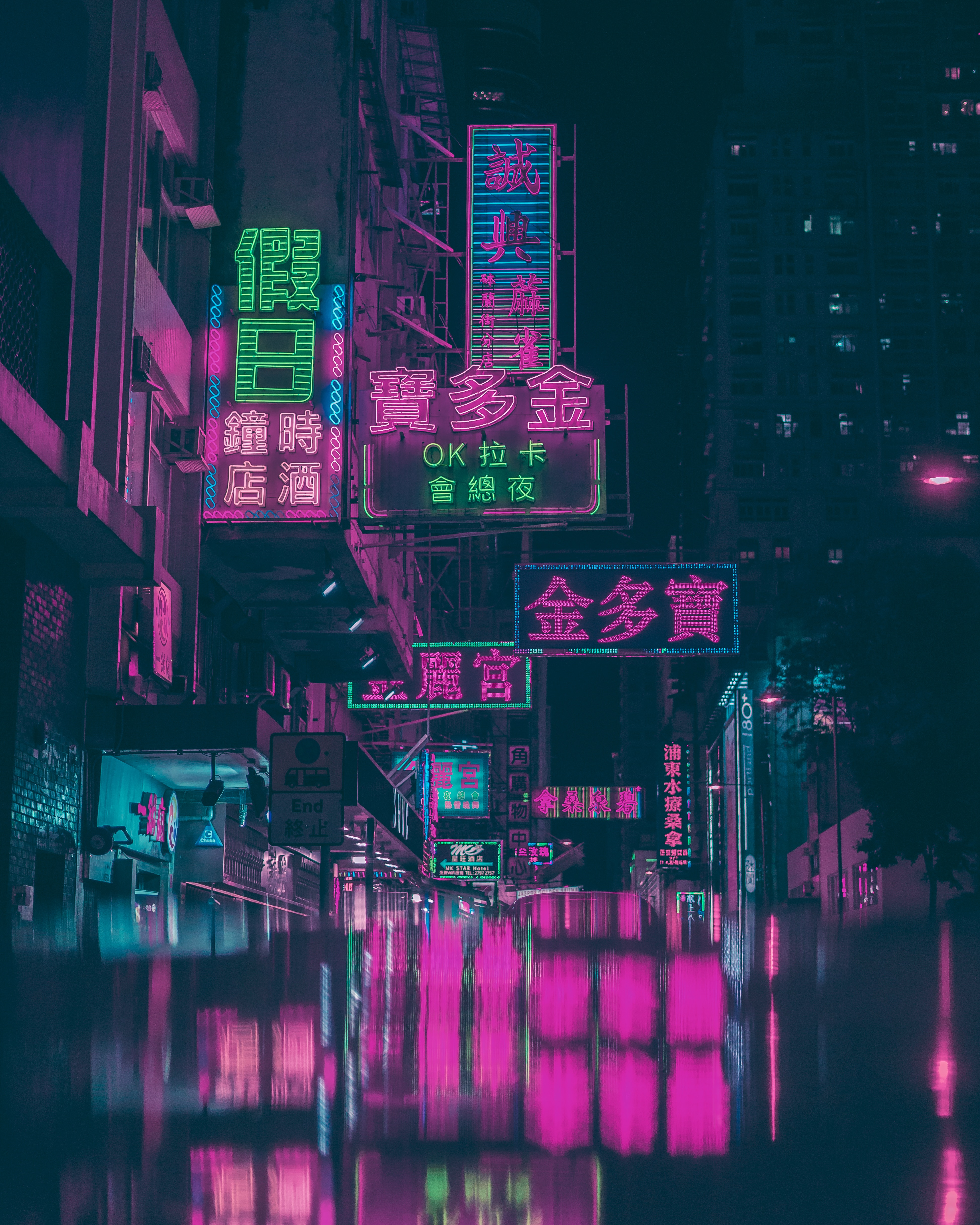 59221 Screensavers and Wallpapers Cities for phone. Download Neon, Cities, Hieroglyph, Signs, Reflection, Night City, Street, Hong Kong, Hong Kong S.a.r, Signboards pictures for free