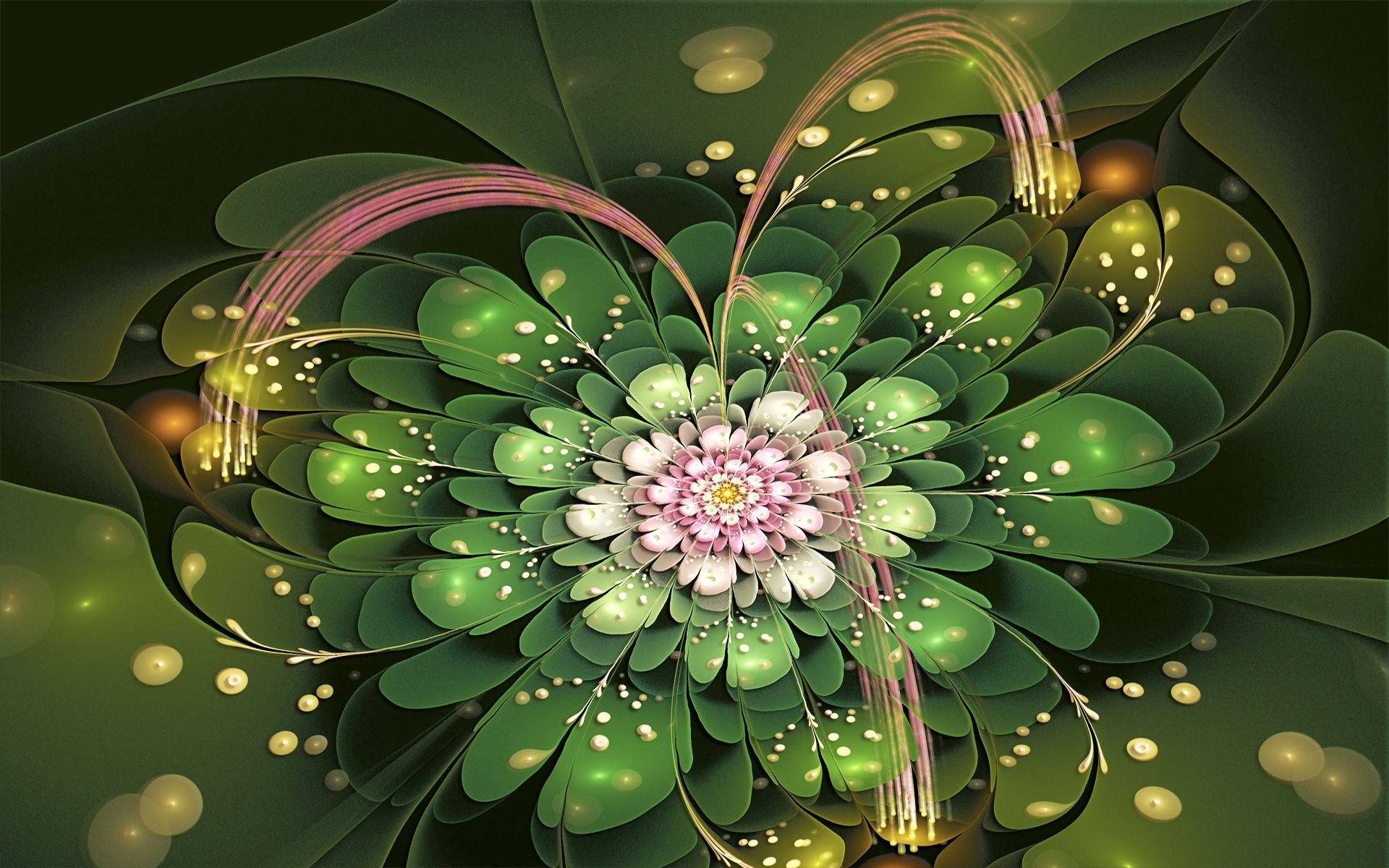 146732 скачать обои Абстракция, Фрактал, Цветок, Лепестки, Зеленый, Розовый - заставки и картинки бесплатно