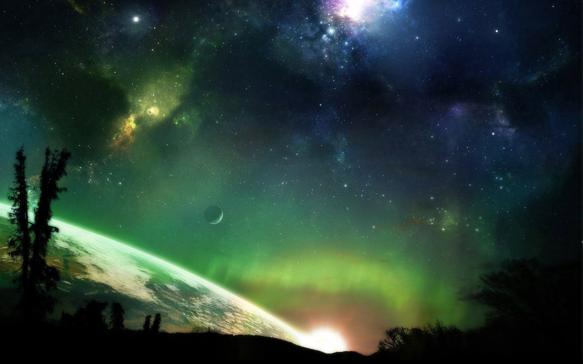 80220 Screensavers and Wallpapers Fiction for phone. Download Trees, Fantasy, Planets, Stars, Shining, Fiction, That's Incredible pictures for free
