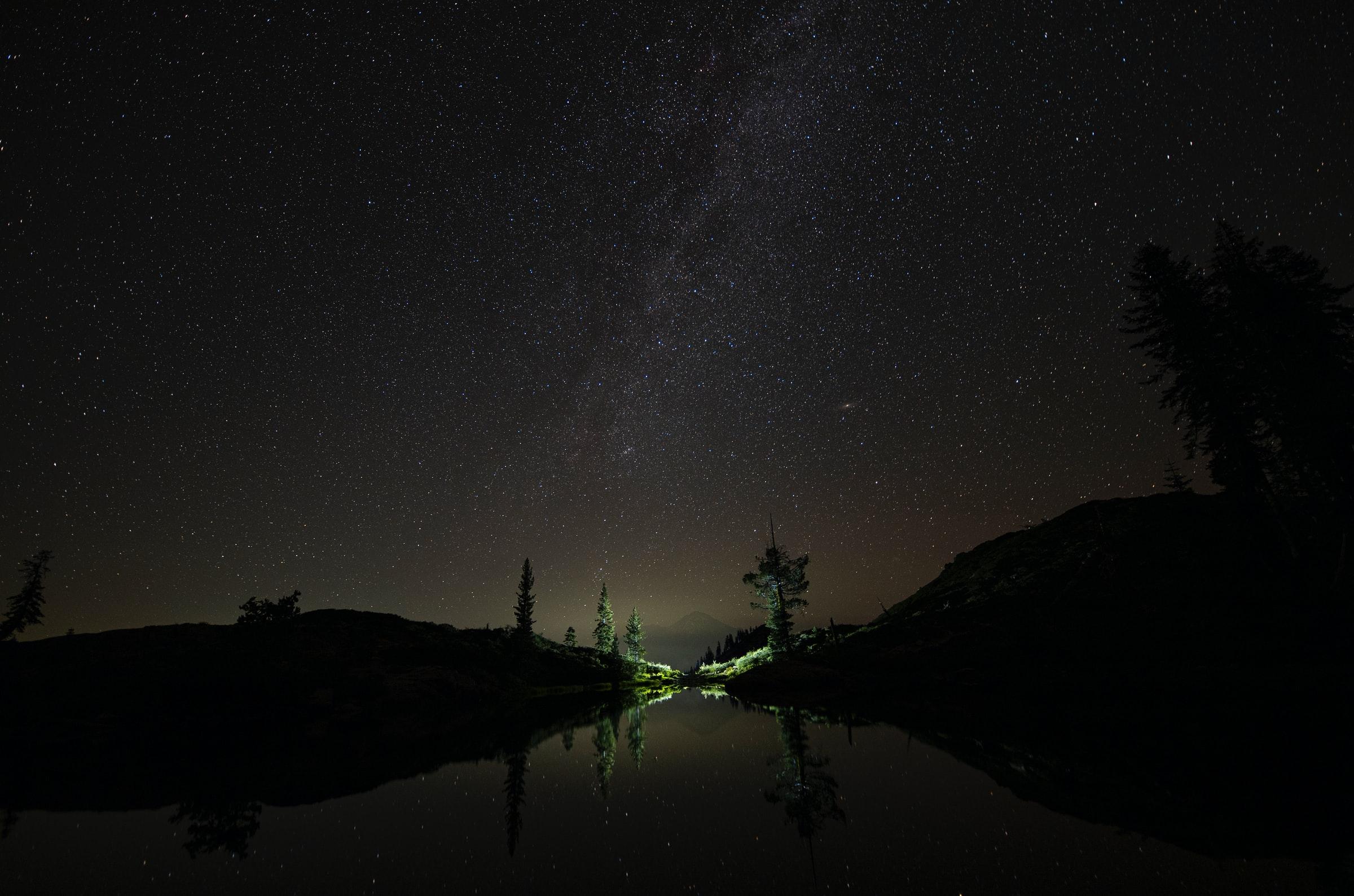 150814 скачать обои Природа, Ночь, Озеро, Звездное Небо, Звезды - заставки и картинки бесплатно