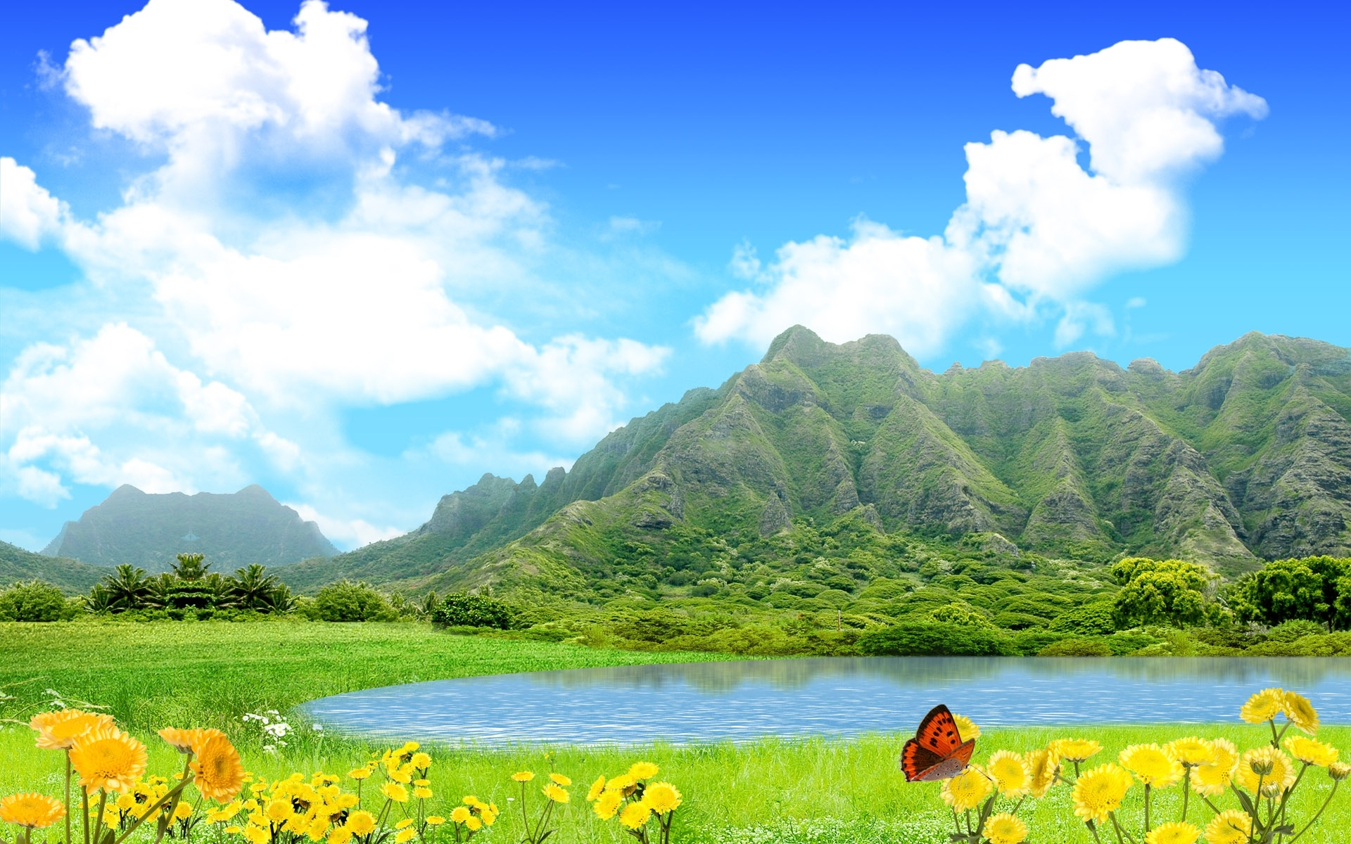 Скачать картинку Горы, Озера, Небо, Пейзаж в телефон бесплатно.