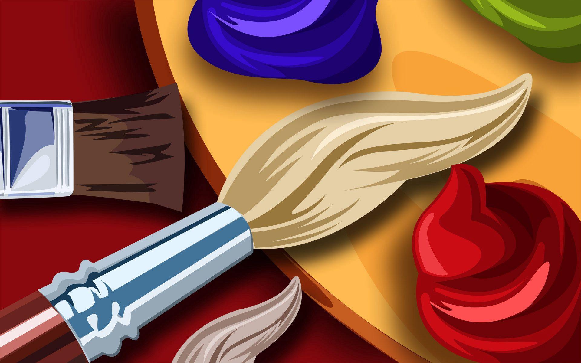 151363 Hintergrundbild herunterladen Künstler, Verschiedenes, Sonstige, Farbe, Bürste, Bürsten, Palette - Bildschirmschoner und Bilder kostenlos