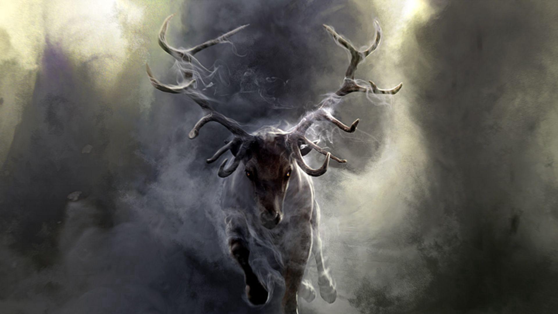 155805 download wallpaper Fantasy, Deer, Run, Running, Horns, Smoke screensavers and pictures for free