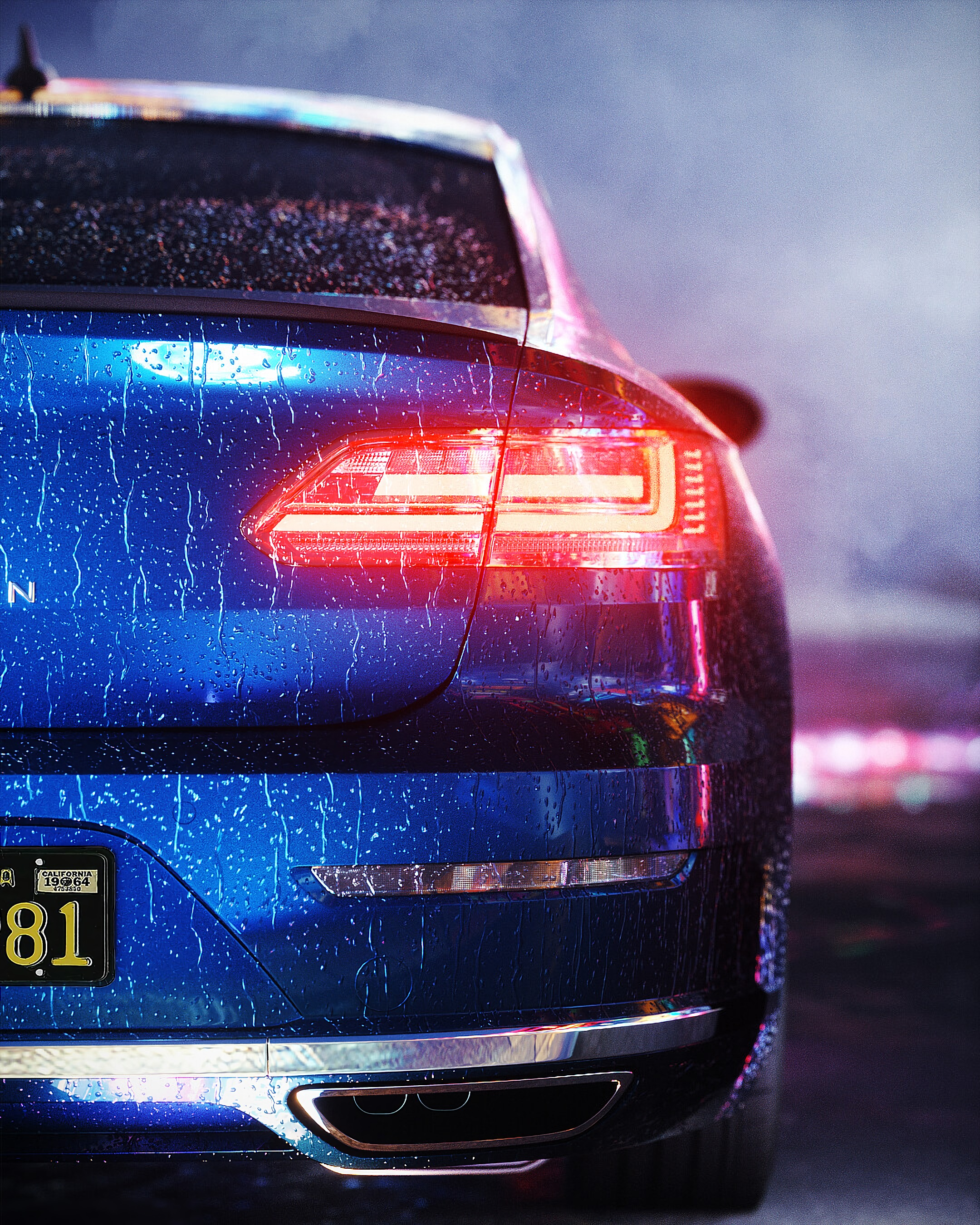 157201 Screensavers and Wallpapers Wet for phone. Download Cars, Shine, Light, Wet, Car, Machine, Backlight, Illumination, Back View, Rear View pictures for free
