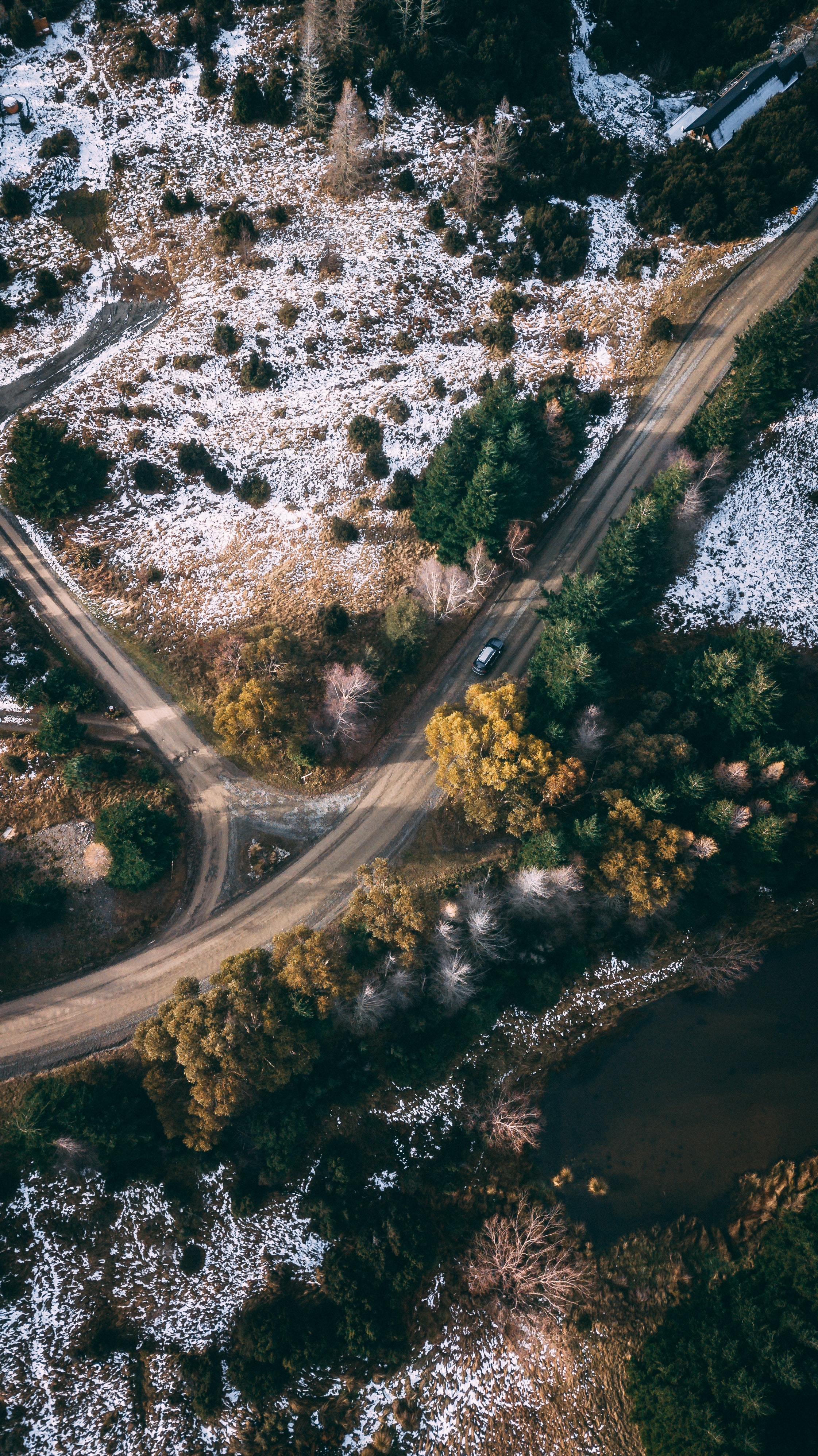 54477 download wallpaper Nature, Road, Trees, View From Above, Snow Covered, Snowbound screensavers and pictures for free