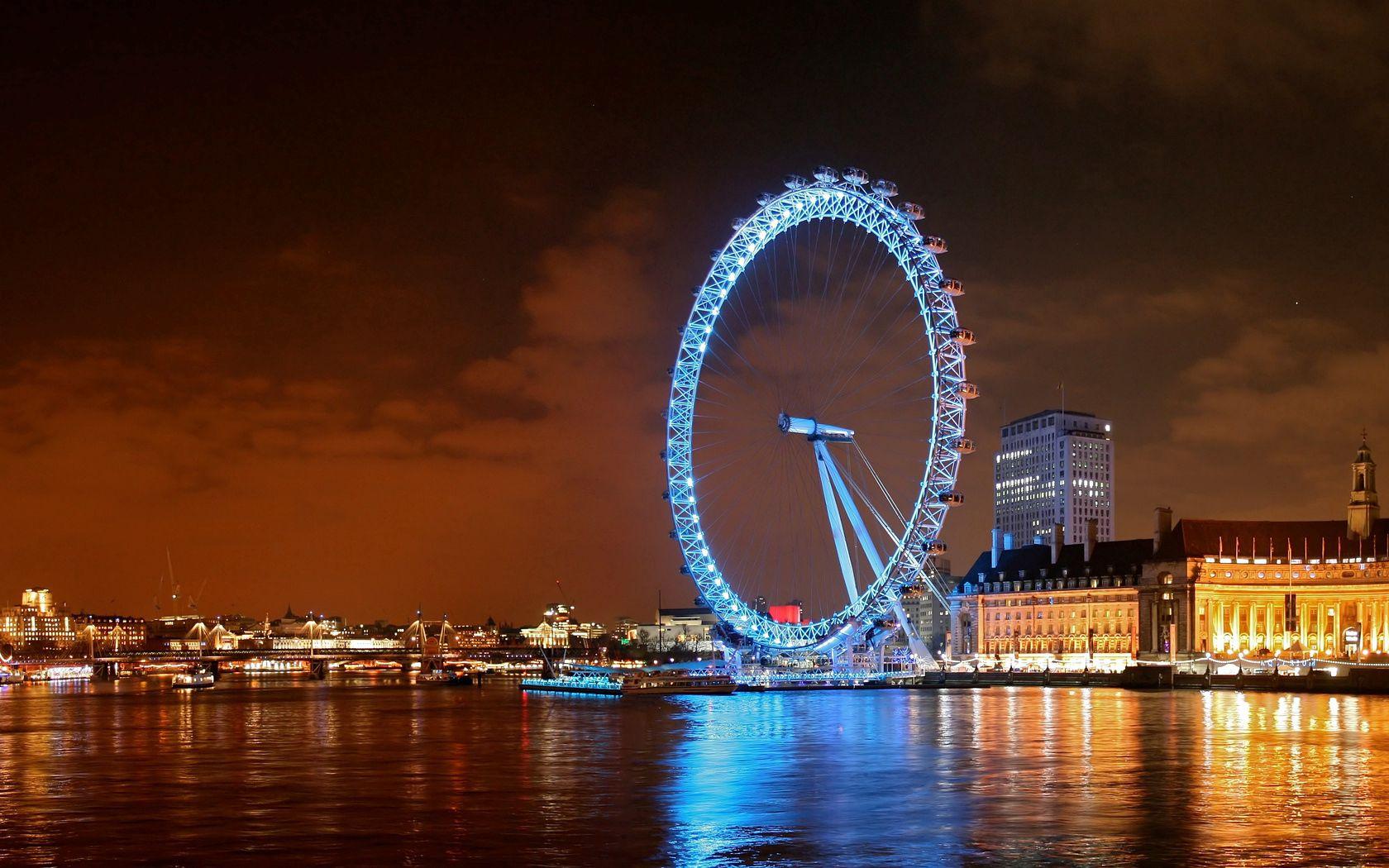 105935 скачать обои Лондон, Ночь, Здания, Река, Колесо Обозрения, Города - заставки и картинки бесплатно